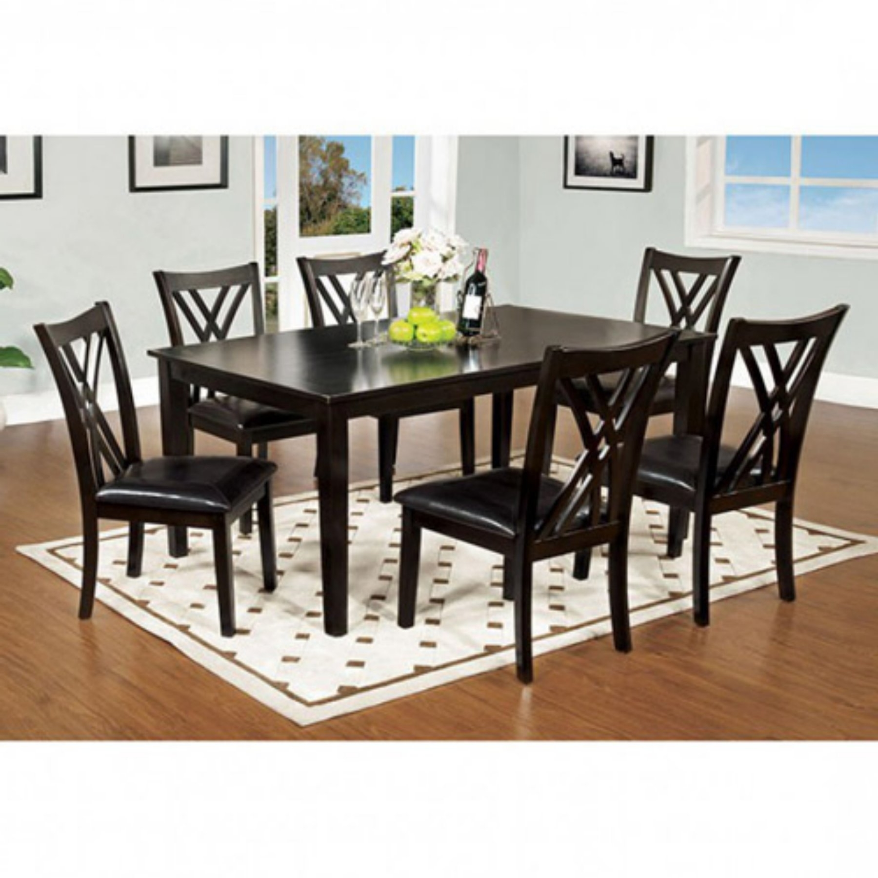 Benzara Springhill Enticing 7 Piece Rectangular Dining Table Set In Throughout Famous Craftsman 7 Piece Rectangle Extension Dining Sets With Uph Side Chairs (View 7 of 25)