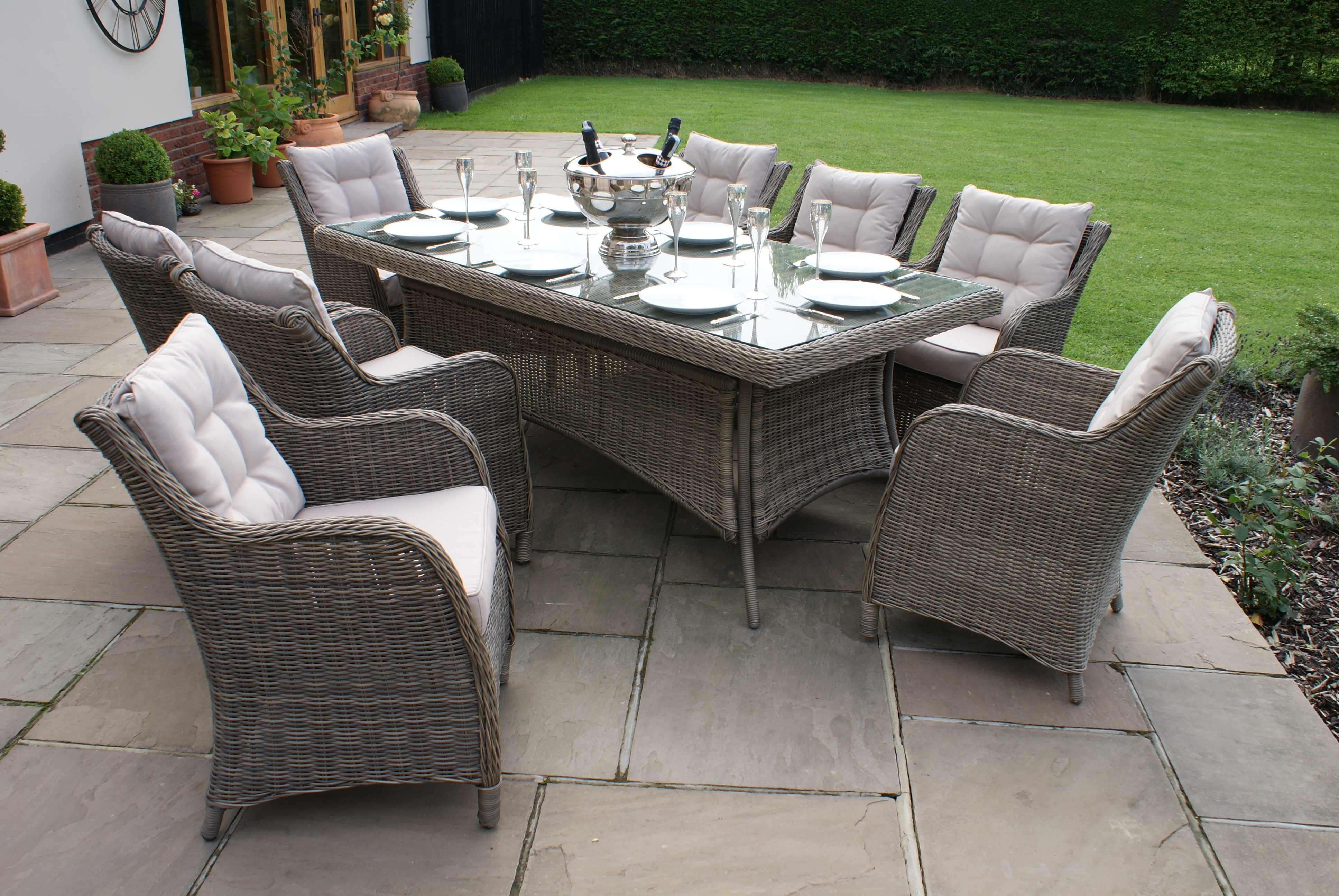 Best And Newest 8 Seat Outdoor Dining Tables Within Dining Sets – Crownhill (View 17 of 25)