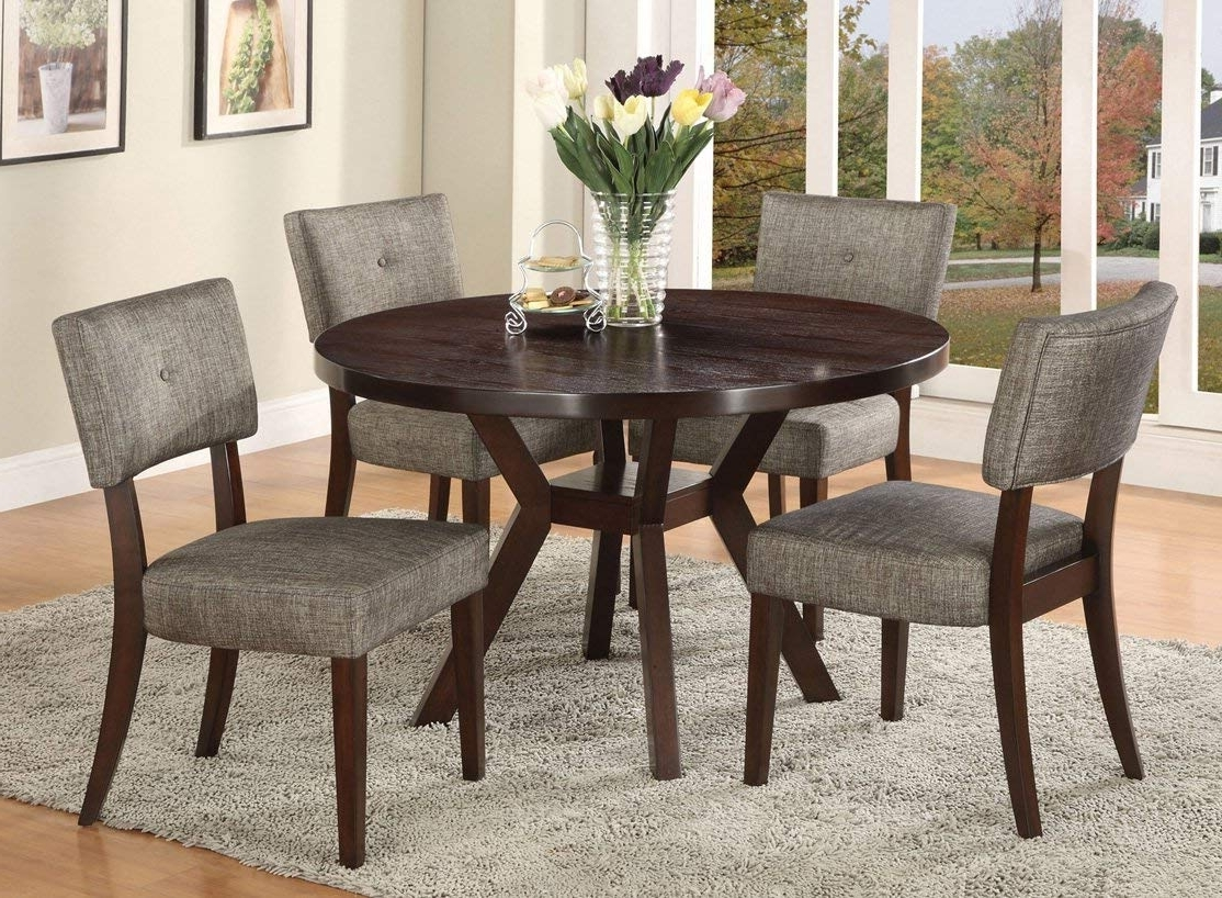 Best And Newest Amazon – Acme Furniture Top Dining Table Set Espresso Finish Intended For Circular Dining Tables (View 8 of 25)
