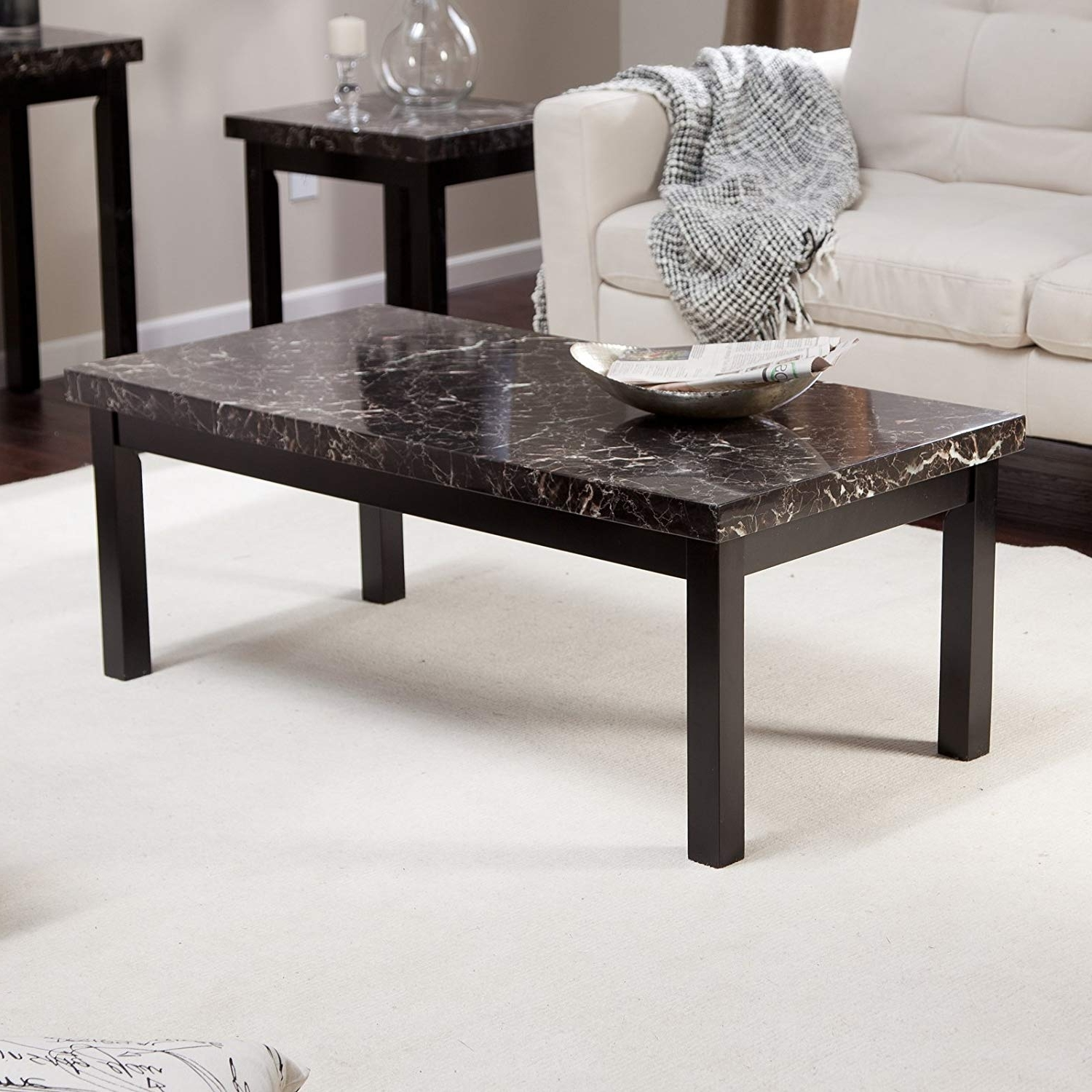 Best And Newest Amazon: Galassia Faux Marble Coffee Table: Kitchen & Dining Regarding Carly 3 Piece Triangle Dining Sets (View 14 of 25)