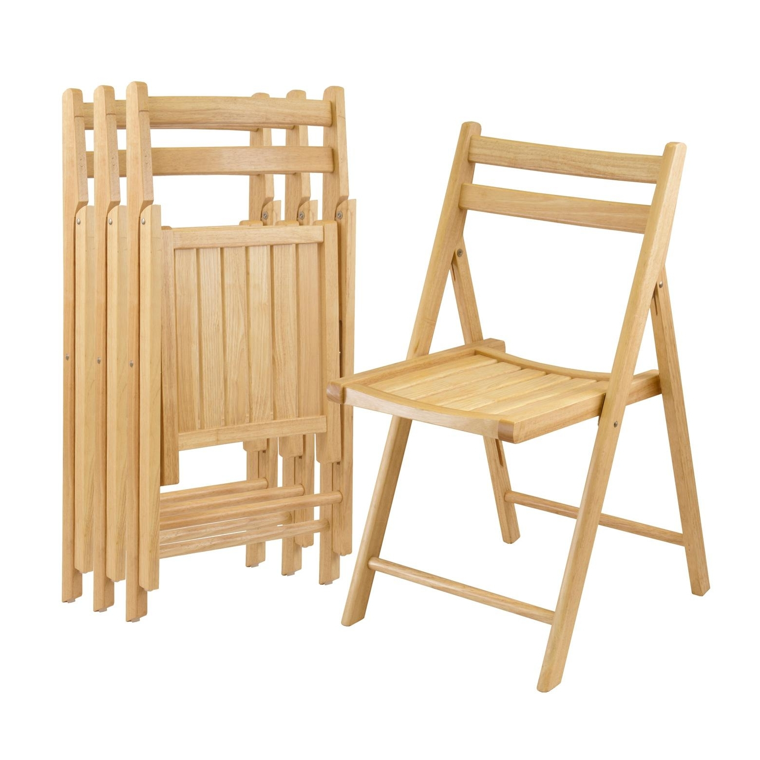 Best And Newest Amazon: Winsome Wood Folding Chairs, Natural Finish, Set Of 4 Inside Dining Tables With Fold Away Chairs (View 2 of 25)