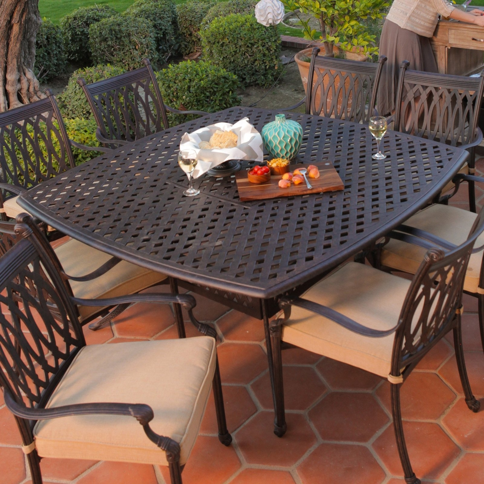 Best And Newest Belham Living Palazetto Cast Aluminum Dining Table – Walmart Within 8 Seat Outdoor Dining Tables (Gallery 22 of 25)