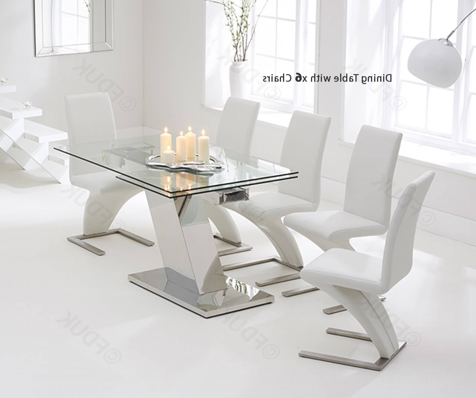 Best And Newest Black Glass Dining Tables And 6 Chairs With Mark Harris Lamont Glass Dining Set – 140Cm Rectangular Extending With 6 Hereford Z White Chairs Fduk Best Price Guarantee We Will Beat Our (View 23 of 25)