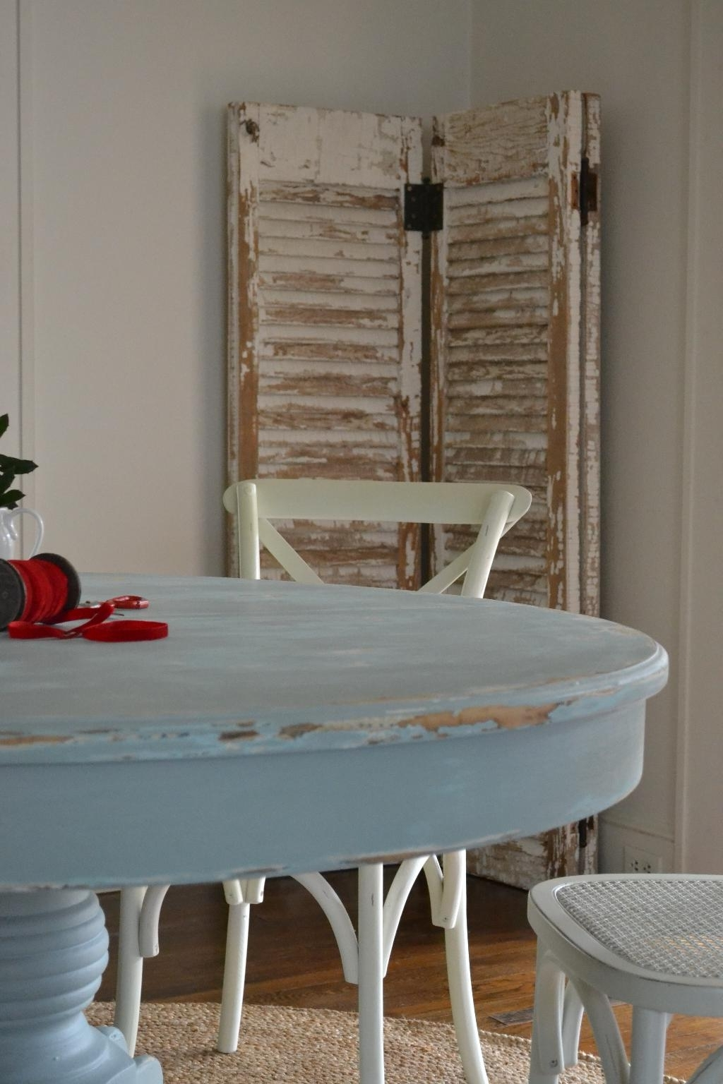 Best And Newest Blue Dining Tables With Regard To Shabby Silvery Blue Dining Table (View 17 of 25)