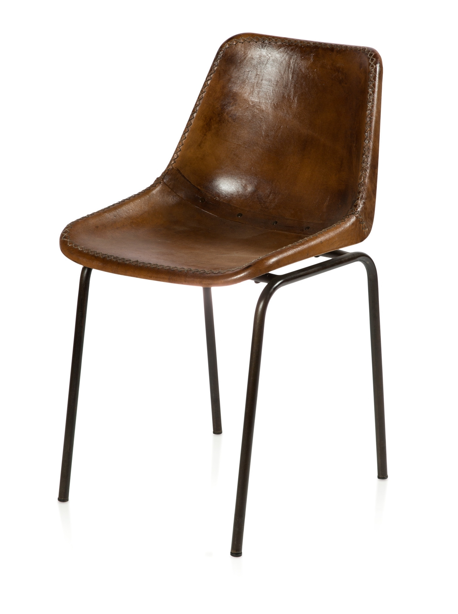 Best And Newest Brown Leather Dining Chairs Throughout Andiez Brown Leather Dining Chair (View 14 of 25)