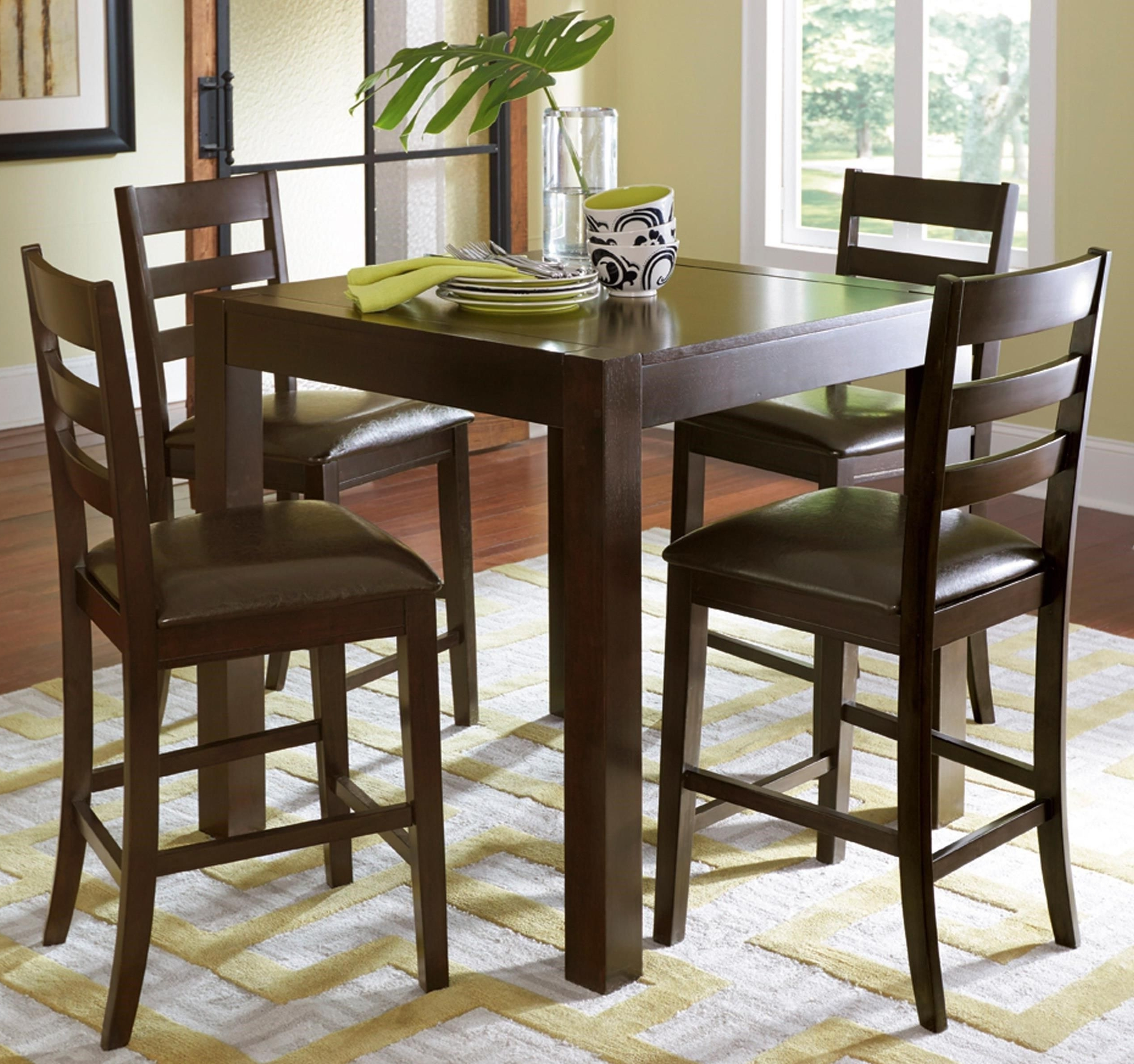 Best And Newest Caira Black 5 Piece Round Dining Sets With Upholstered Side Chairs For Amini 5 Piece Butterfly Counter Table Setprogressive Furniture (Gallery 19 of 25)
