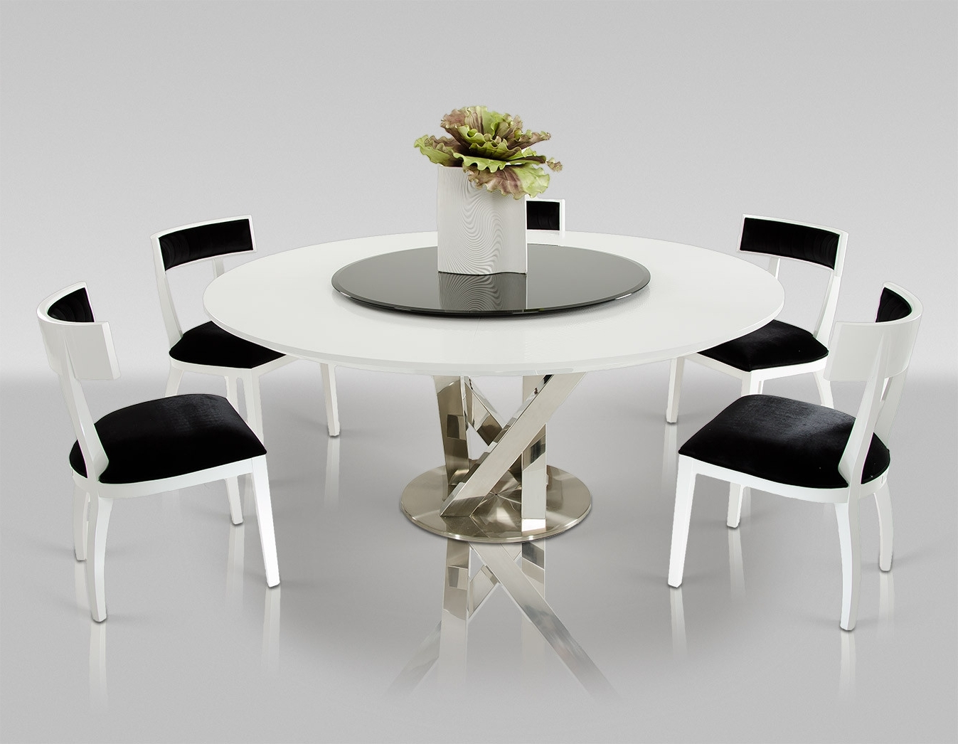 Best And Newest Cheap Round Dining Tables Regarding A&x Spiral Modern Round White Dining Table With Lazy Susan (View 7 of 25)