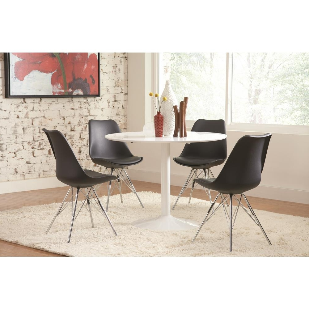 Best And Newest Chrome Dining Chairs Intended For Coaster Lowry Collection Black And Chrome Dining Chair (Set Of  (View 19 of 25)