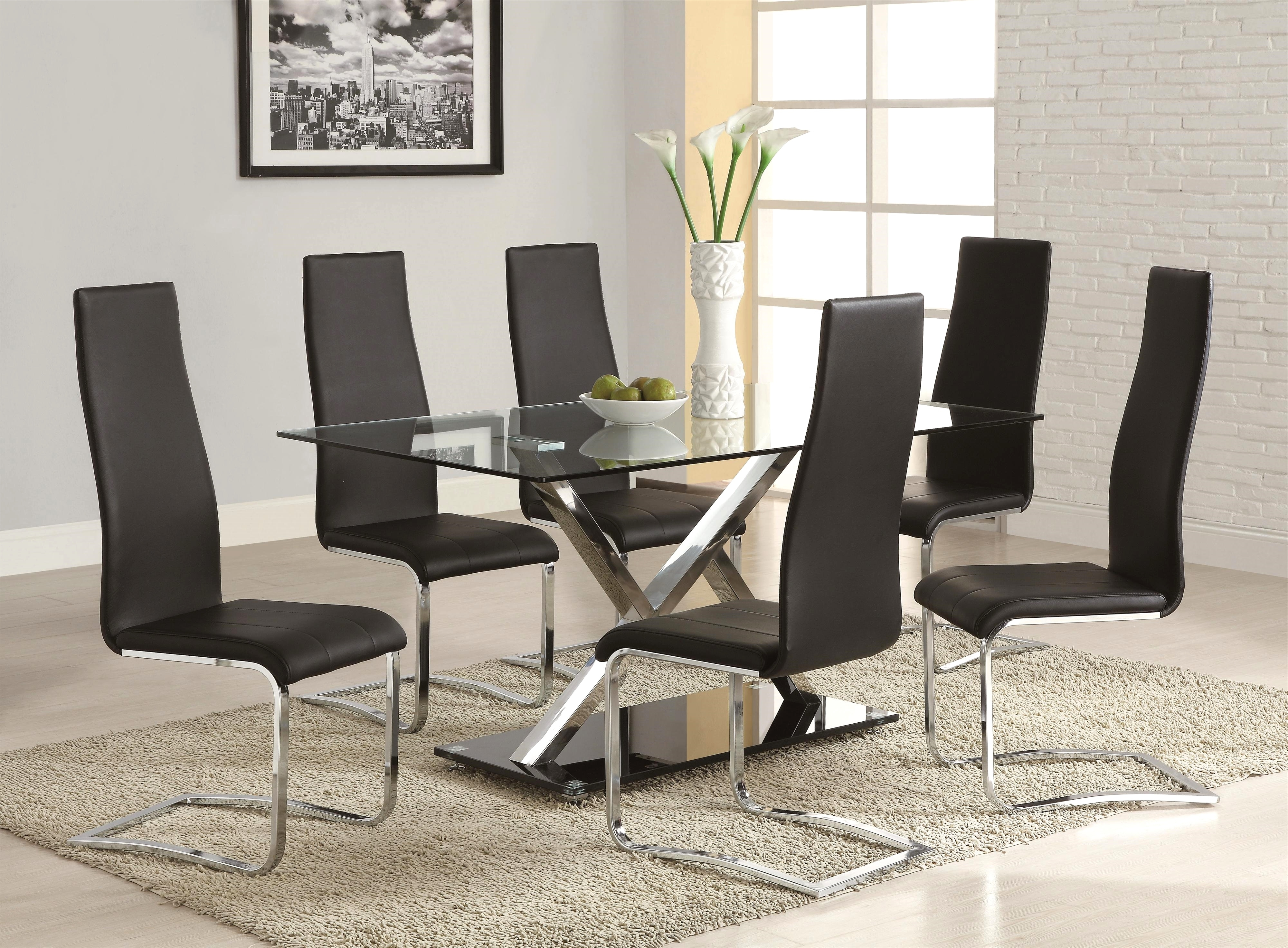 Best And Newest Chrome Leather Dining Chairs Inside Coaster Modern Dining Black Faux Leather Dining Chair With Chrome (View 2 of 25)