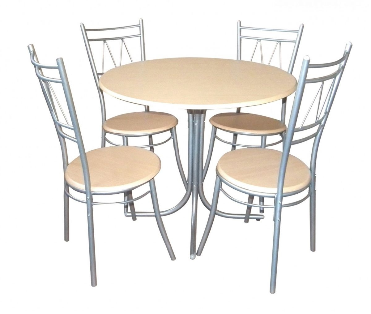 Best And Newest Chrome Metal Armless Chairs Using Round Cream Wooden Seat Combined Pertaining To Small 4 Seater Dining Tables (View 3 of 25)