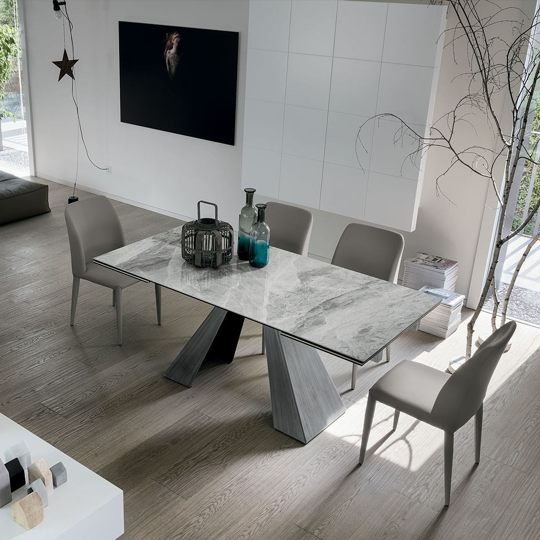 Best And Newest Contemporary Dining Table / Painted Metal / Brushed Metal Pertaining To Brushed Metal Dining Tables (View 12 of 25)