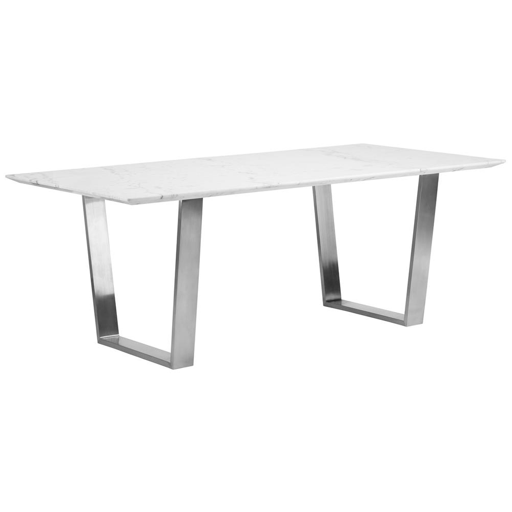 Best And Newest Corra Modern White Marble Brushed Steel Dining Table (Gallery 4 of 25)
