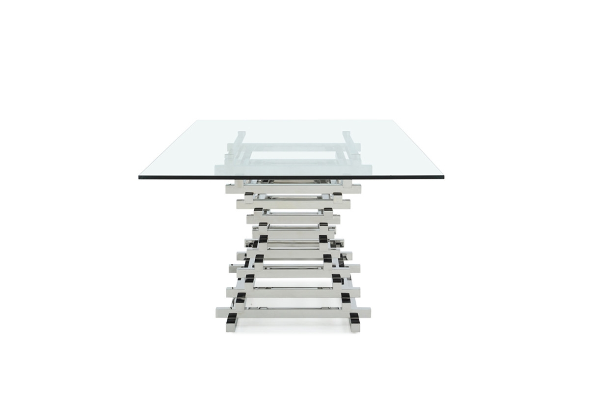Best And Newest Crawford Rectangle Dining Tables Regarding Modrest Crawford Modern Rectangular Glass Dining Table (View 14 of 25)