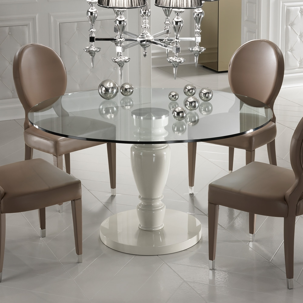 Best And Newest Designer Italian Leather Dining Chair And Glass Dining Table Set Within Dining Room Glass Tables Sets (View 4 of 25)