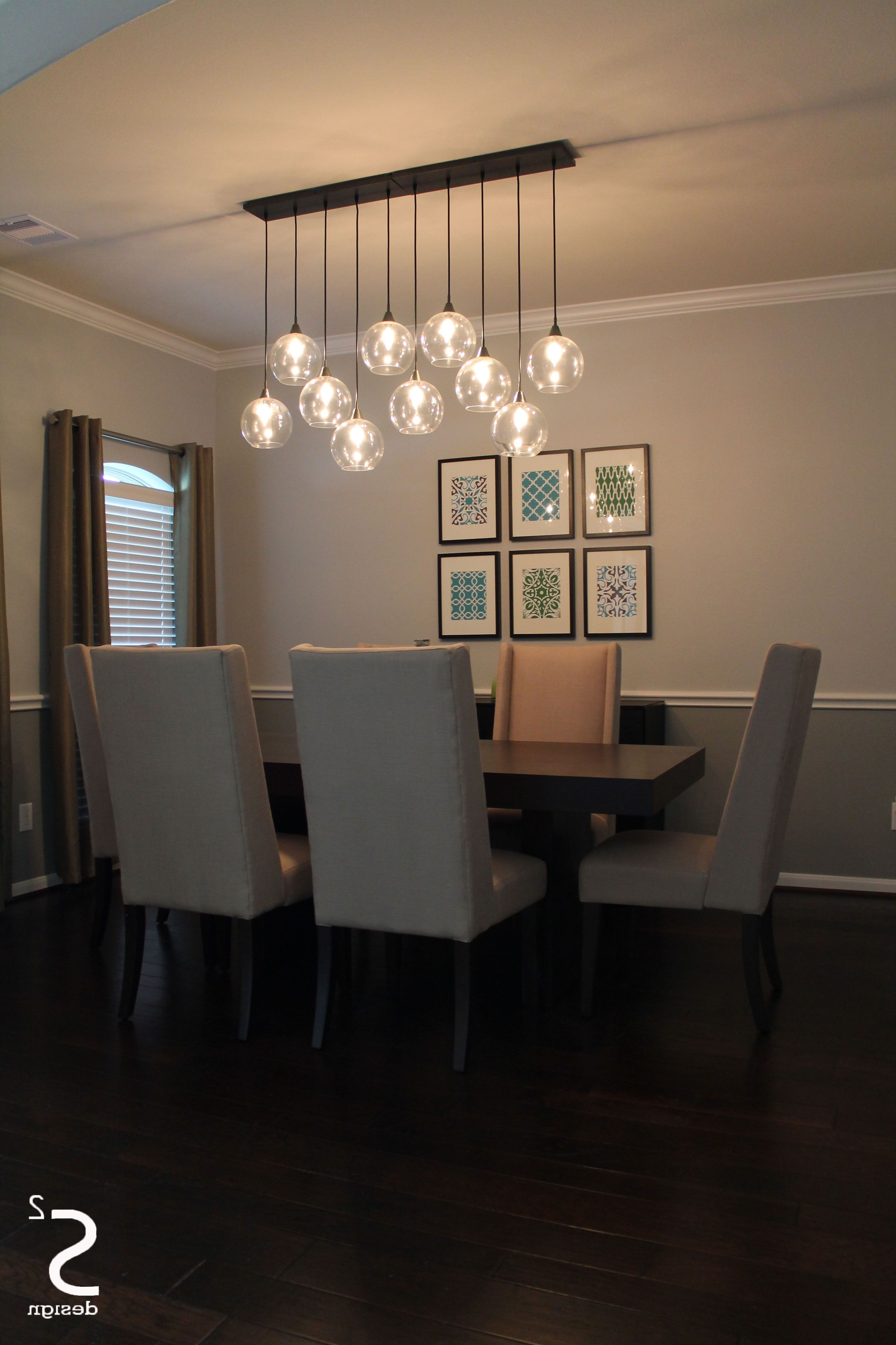 Best And Newest Dining Room Green Curtains Blue Glass Chandelier High Back Dining In Lighting For Dining Tables (Gallery 4 of 25)