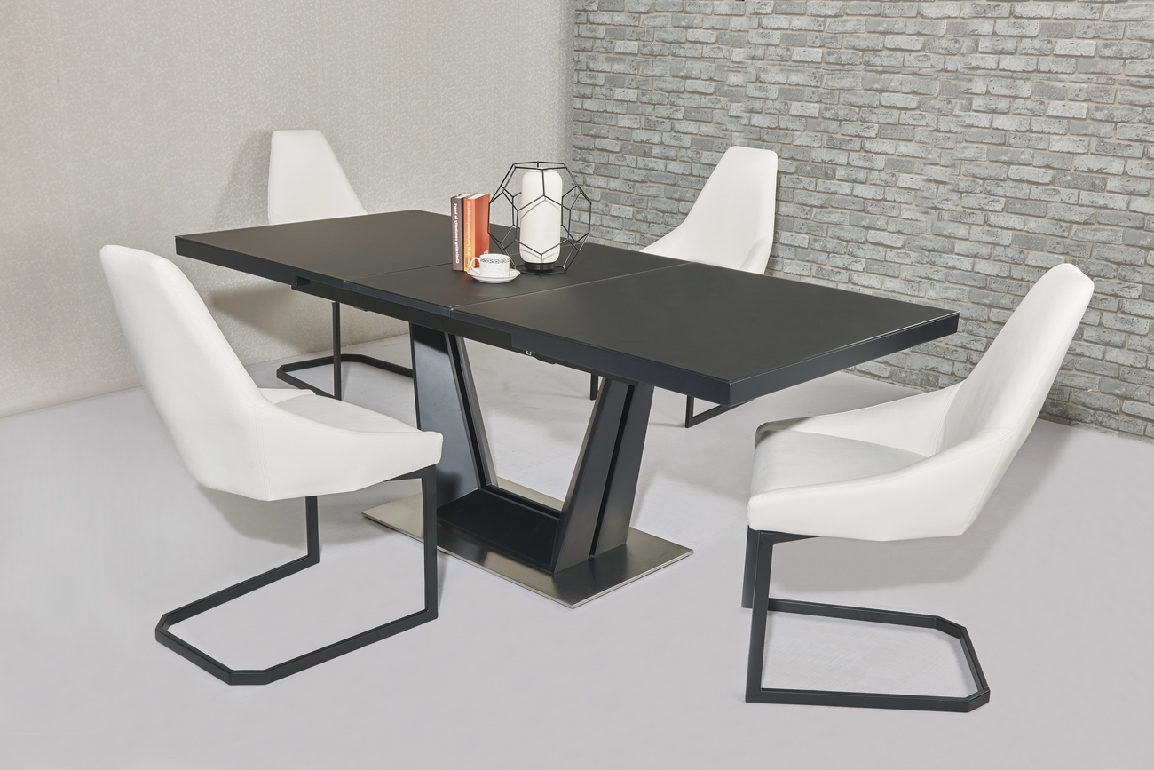Best And Newest Extendable Glass Dining Tables And 6 Chairs Inside Matt Black Glass Dining Table & 6 White Chairs – Homegenies (View 1 of 25)