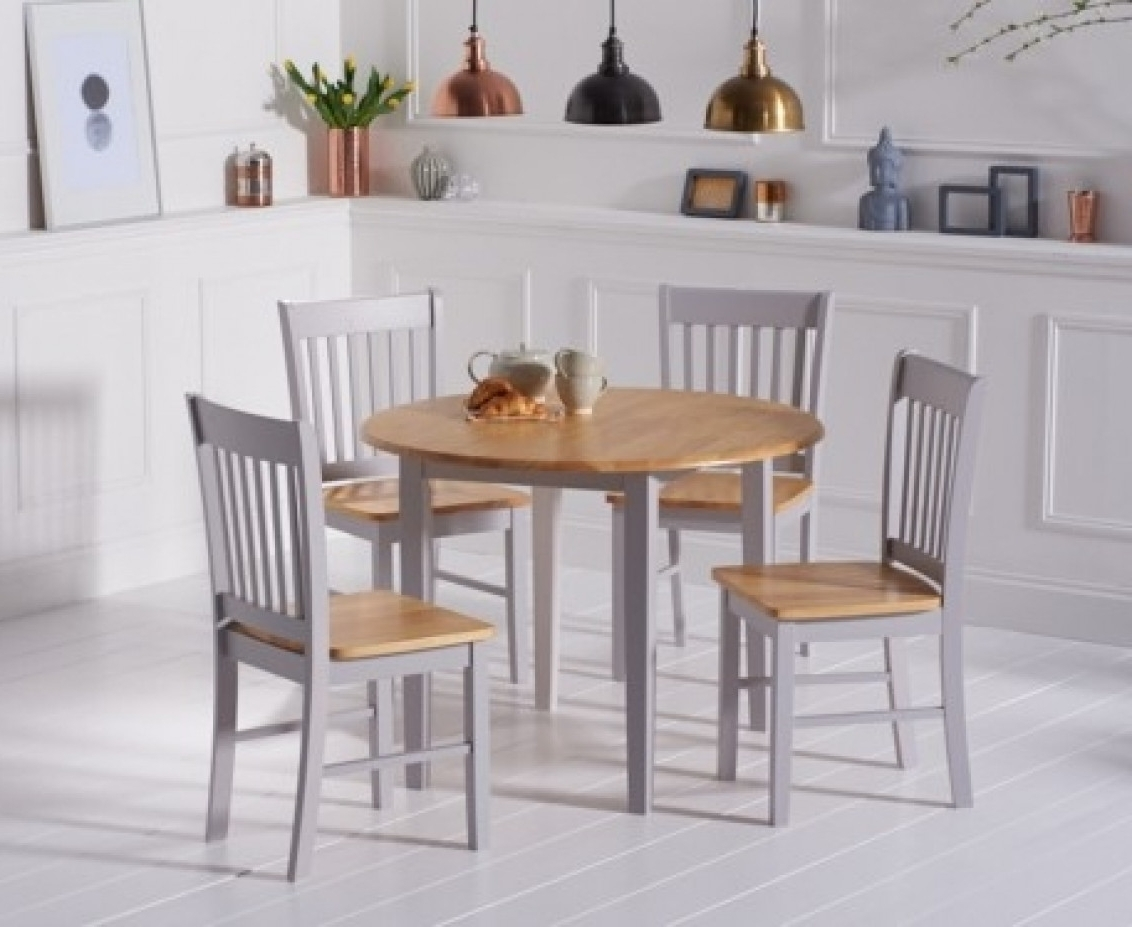 Best And Newest Extending Dining Tables Set Inside Genoa 100Cm Oak And Grey Drop Leaf Extending Dining Table Set With (View 2 of 25)