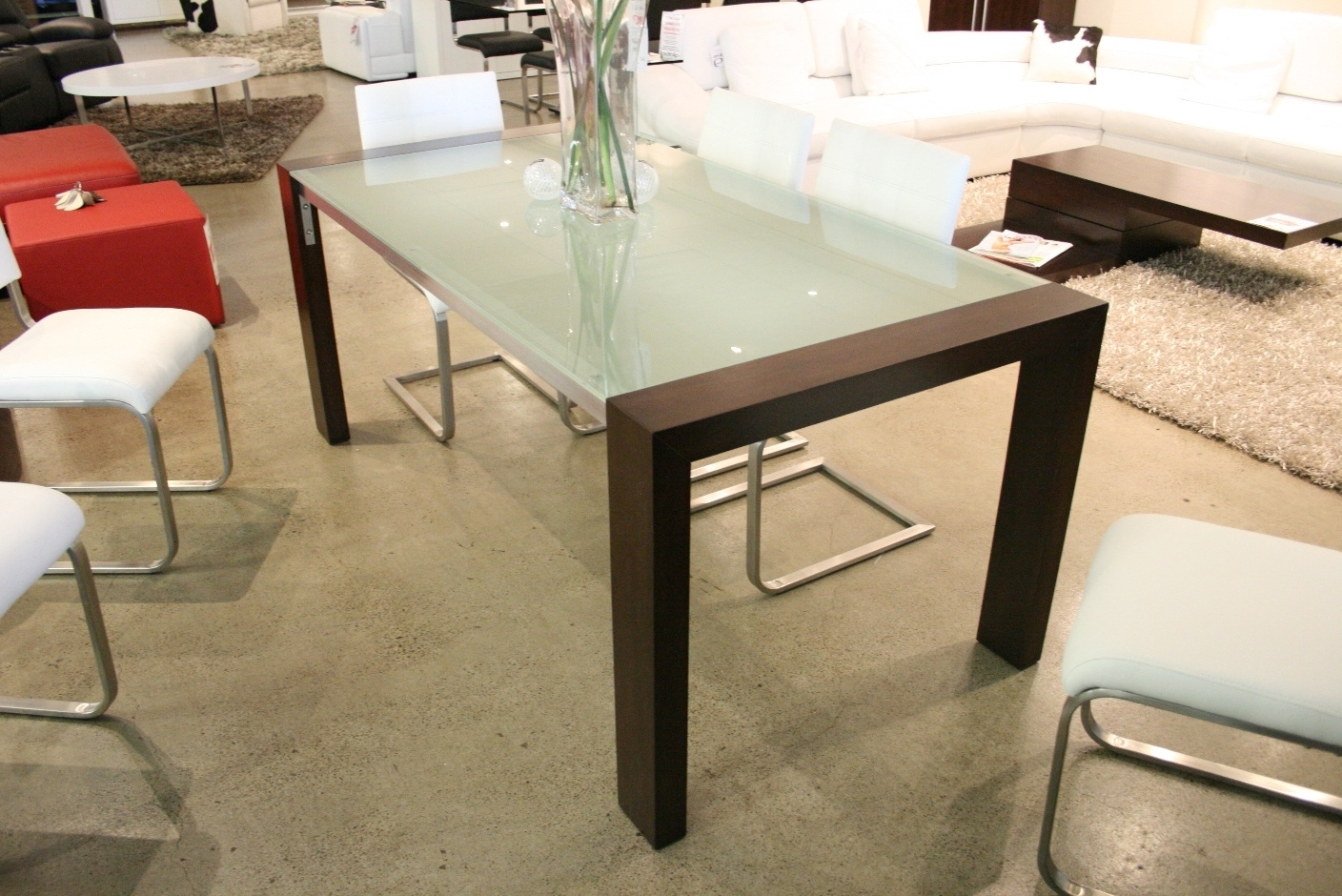 Best And Newest Fabulous Frosted Glass Top Dining Table With Brown Wood Legs Also With Smoked Glass Dining Tables And Chairs (View 7 of 25)