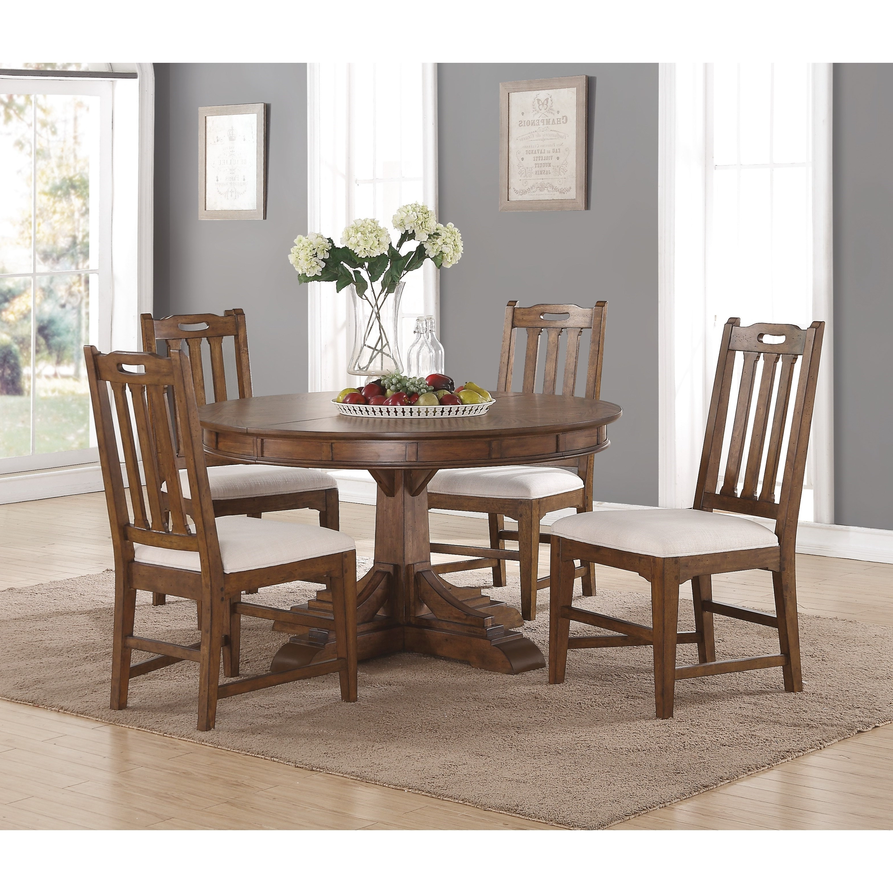 Best And Newest Flexsteel Wynwood Collection Sonora Mission Round Dining Table And Pertaining To Craftsman 5 Piece Round Dining Sets With Side Chairs (View 3 of 25)