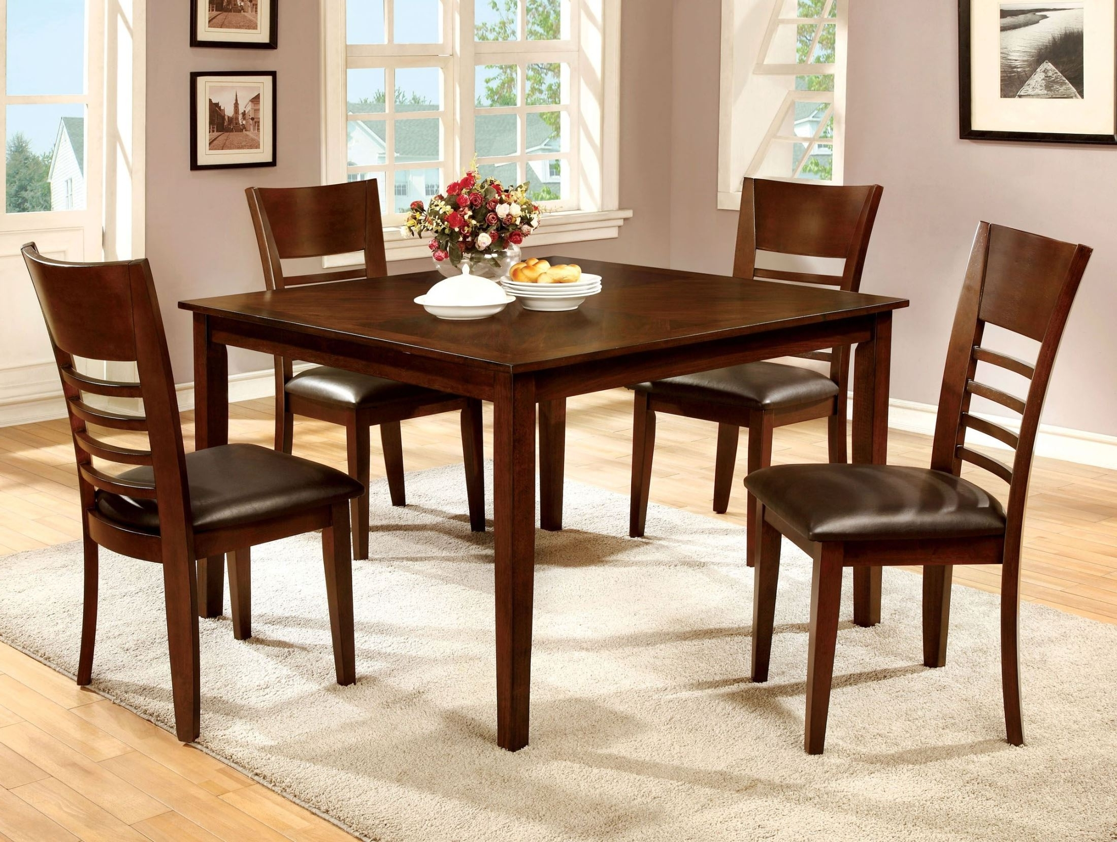 Best And Newest Furniture Of America Hillsview I Brown Cherry Extendable Dining For Extendable Dining Table Sets (View 22 of 25)