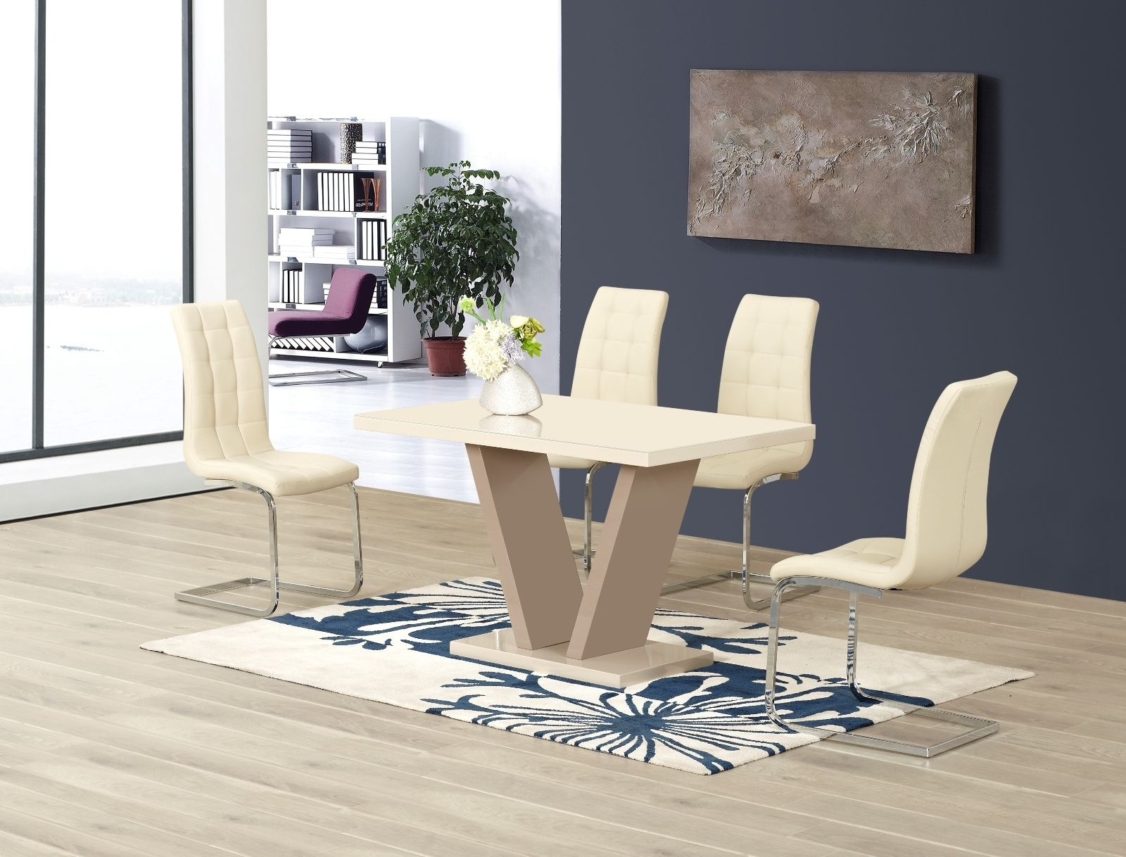 Best And Newest Ga Vico Cream Gloss Designer 120 Cm Dining Set & 4 Araceli Or Sicily Chairs Within Black Gloss Dining Tables And Chairs (Gallery 13 of 25)