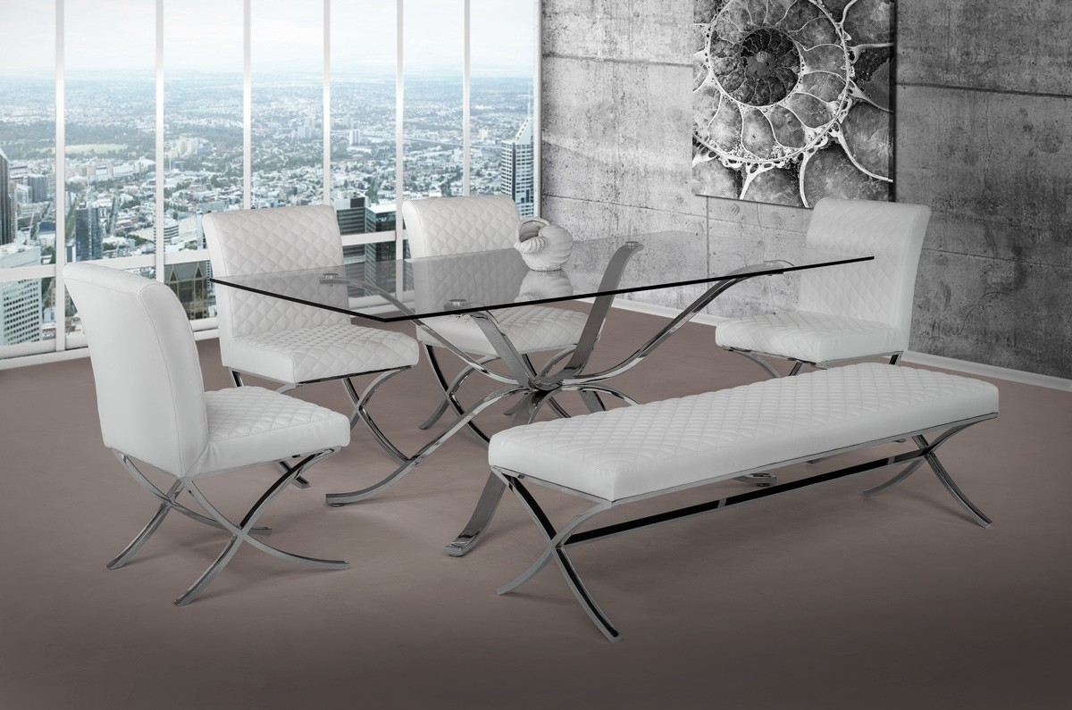 Best And Newest Glass And Stainless Steel Dining Tables Regarding Modrest Adderley Modern Stainless Steel W/ Glass Top Dining Table (Gallery 4 of 25)