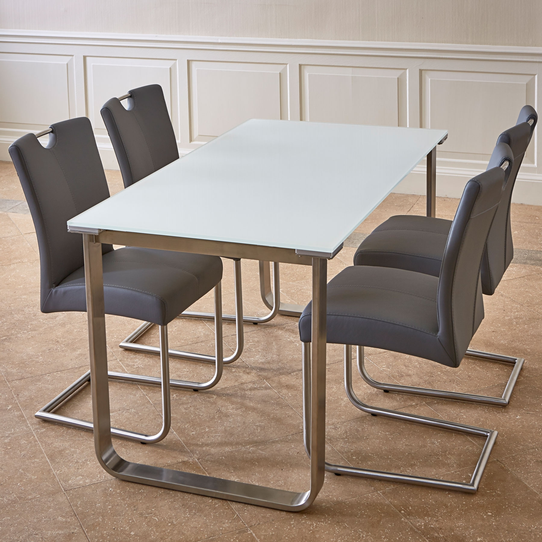 Best And Newest Glass Dining Tables White Chairs Within Pluto White Glass Dining Table & 4 Chairs (View 5 of 25)