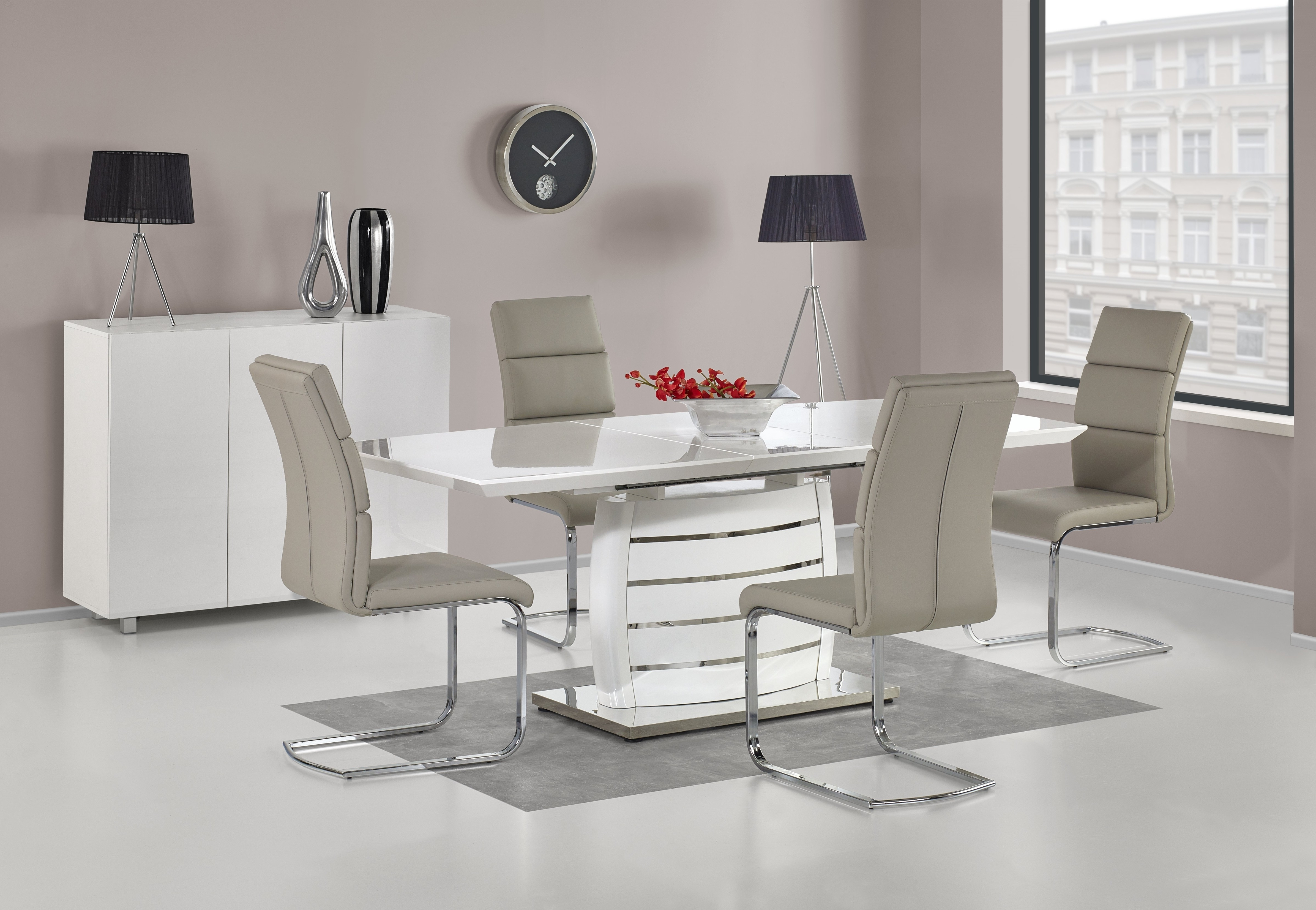 Best And Newest Gloss White Dining Tables And Chairs Regarding Buy High Gloss White Dining Sets – Chic Paradis (View 17 of 25)