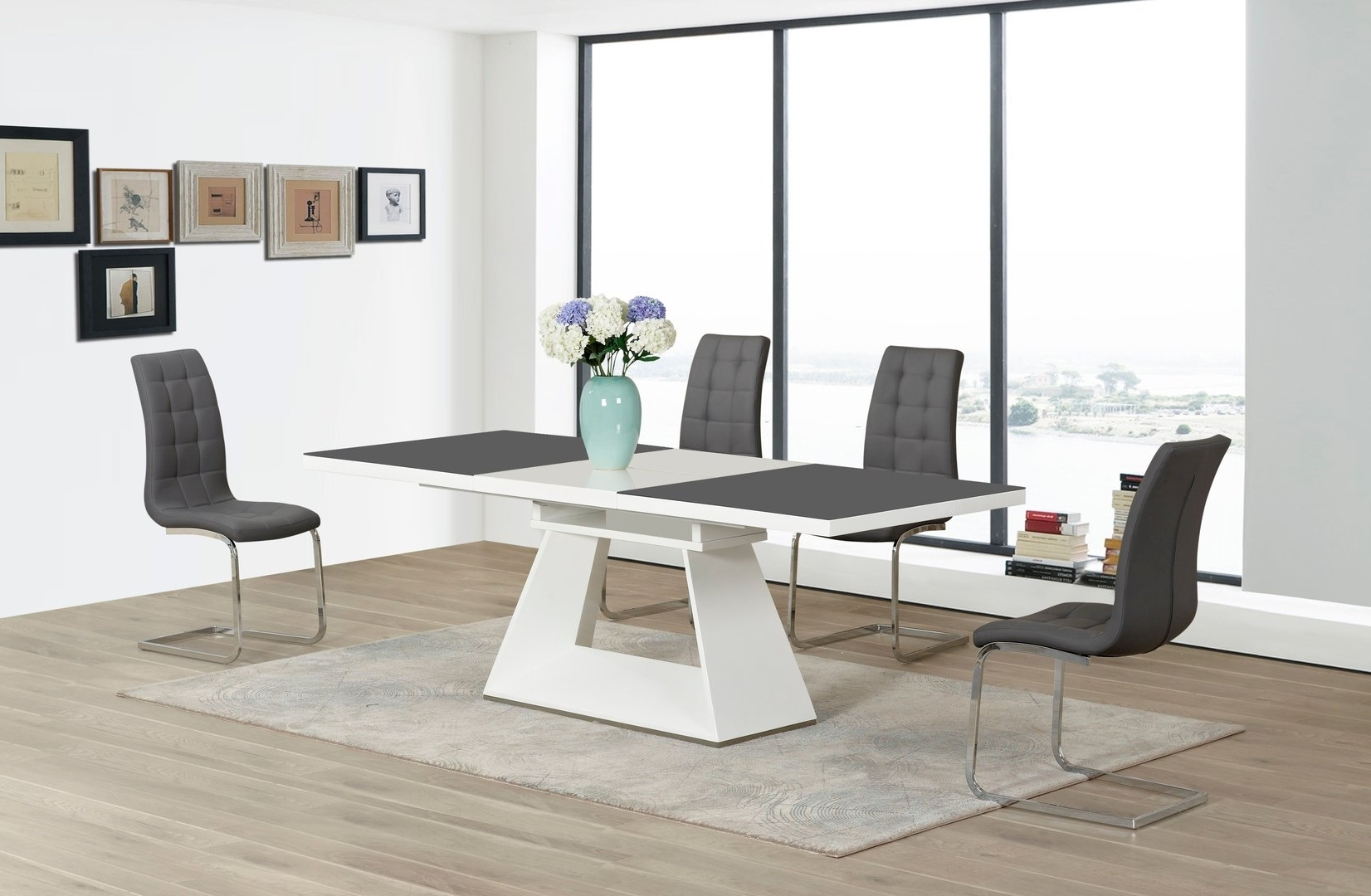 Best And Newest Grey / White Extending High Gloss Glass Dining Table And 6 Chairs For Extending Glass Dining Tables And 8 Chairs (View 4 of 25)