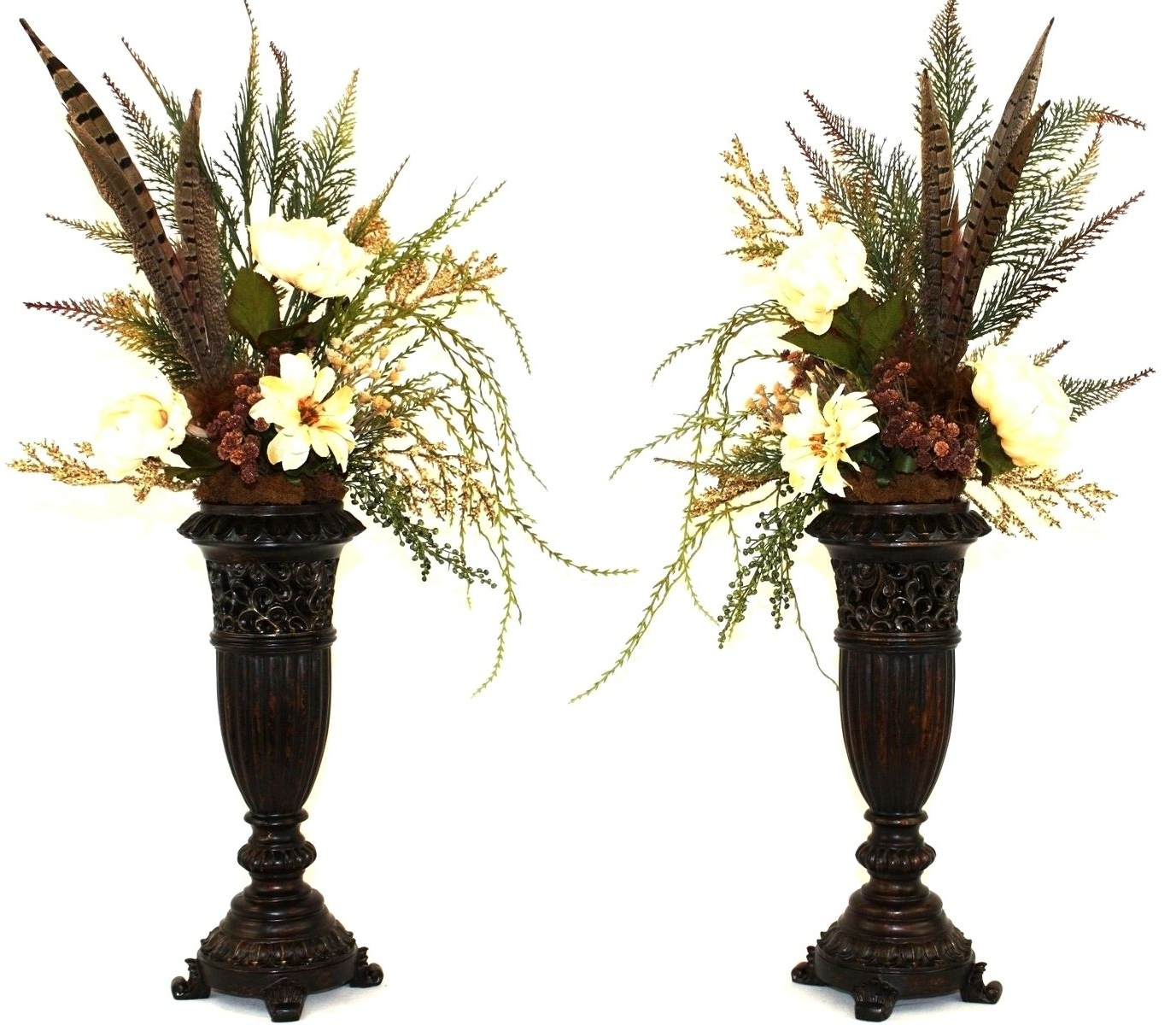 Best And Newest Hand Made Silk Flower Arrangement, Fireplace Mantel Decor, Dining For Artificial Floral Arrangements For Dining Tables (View 11 of 25)