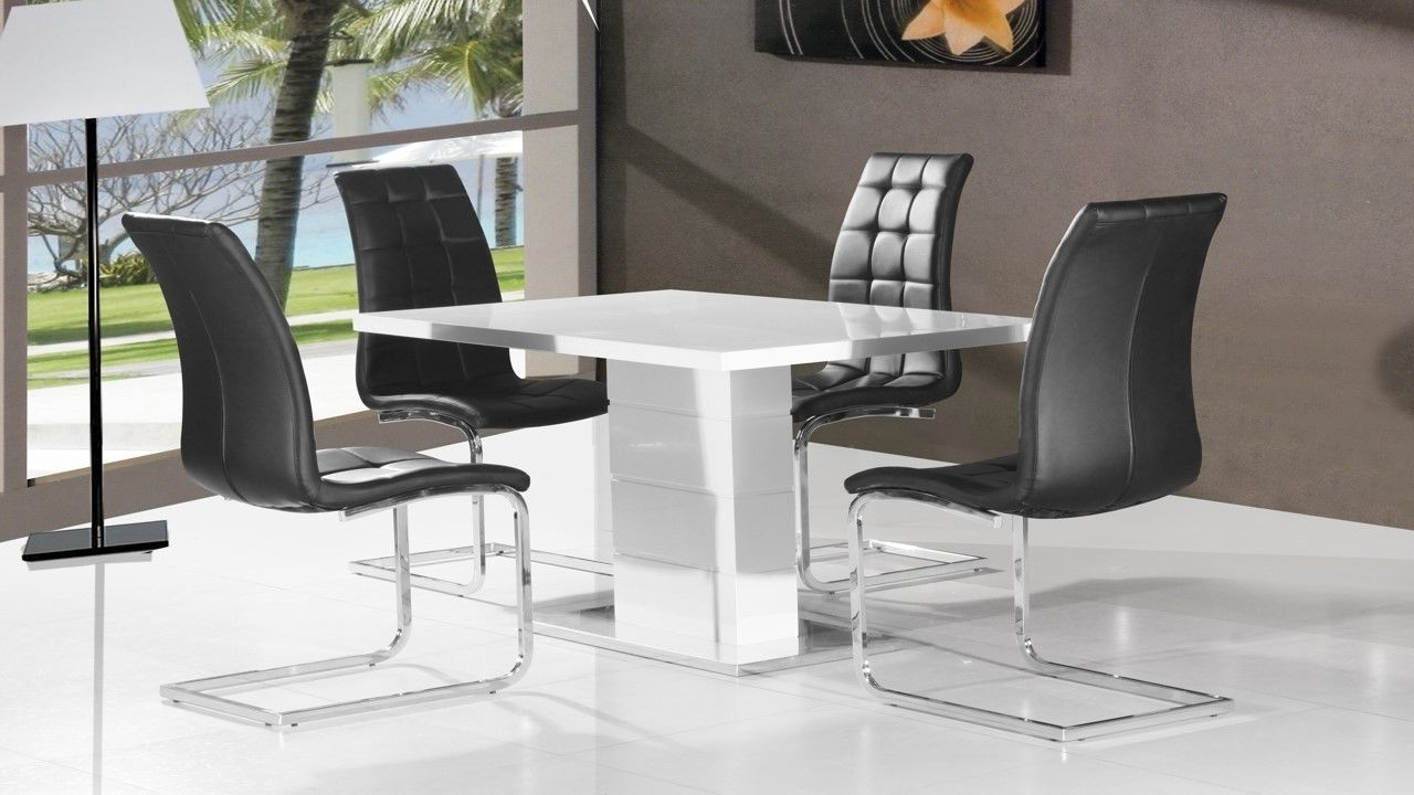 Best And Newest High Gloss White Dining Tables And Chairs Intended For Pure White High Gloss Dining Table & 4 Black Chairs – Homegenies (Gallery 1 of 25)