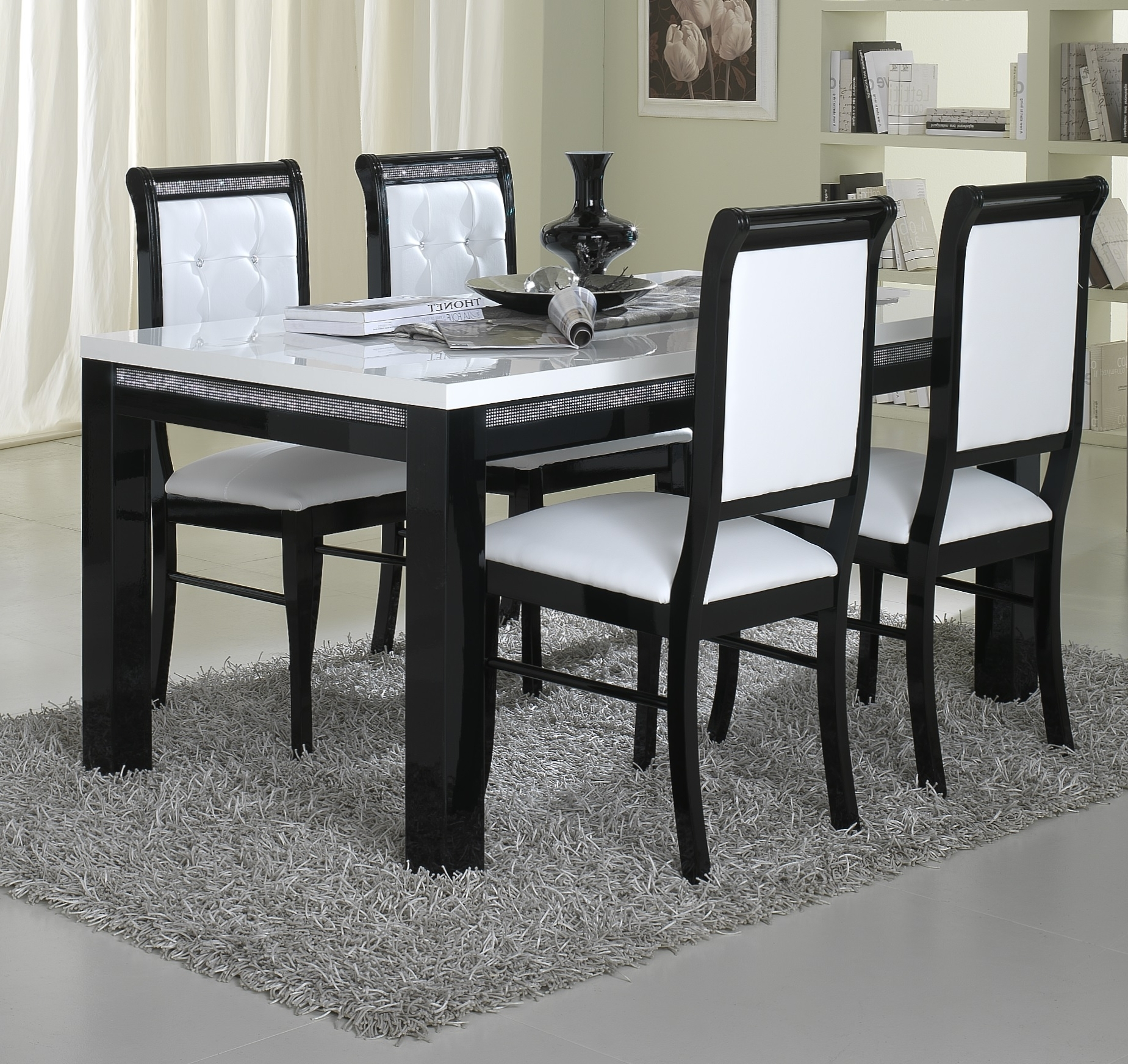 Best And Newest Imágenes De Black And White Dining Table And Chairs Throughout Leon 7 Piece Dining Sets (View 2 of 25)