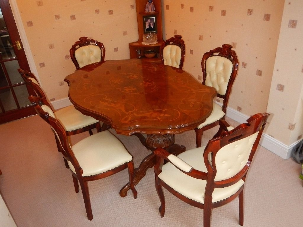 Best And Newest Italian/ French Rocco Style Dining Table Complete With Six Cream With Regard To Rocco Extension Dining Tables (View 9 of 25)