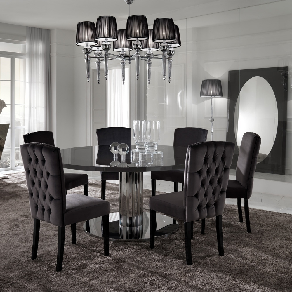 Best And Newest Italian Modern Designer Chrome Round Dining Table Set (Gallery 3 of 25)