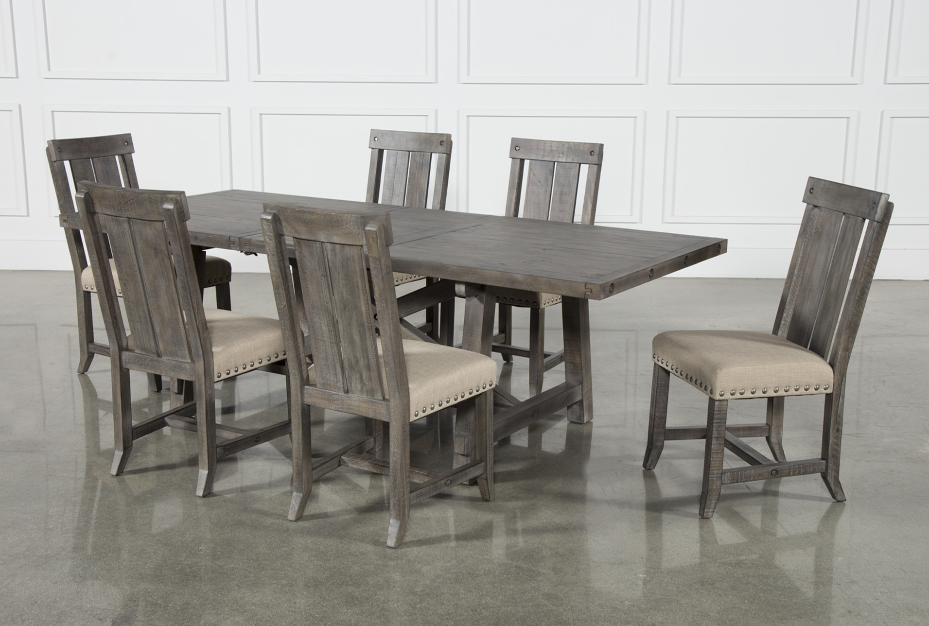 Best And Newest Jaxon Grey 7 Piece Rectangle Extension Dining Set W/wood Chairs With Regard To Jaxon Grey 7 Piece Rectangle Extension Dining Sets With Uph Chairs (View 2 of 25)