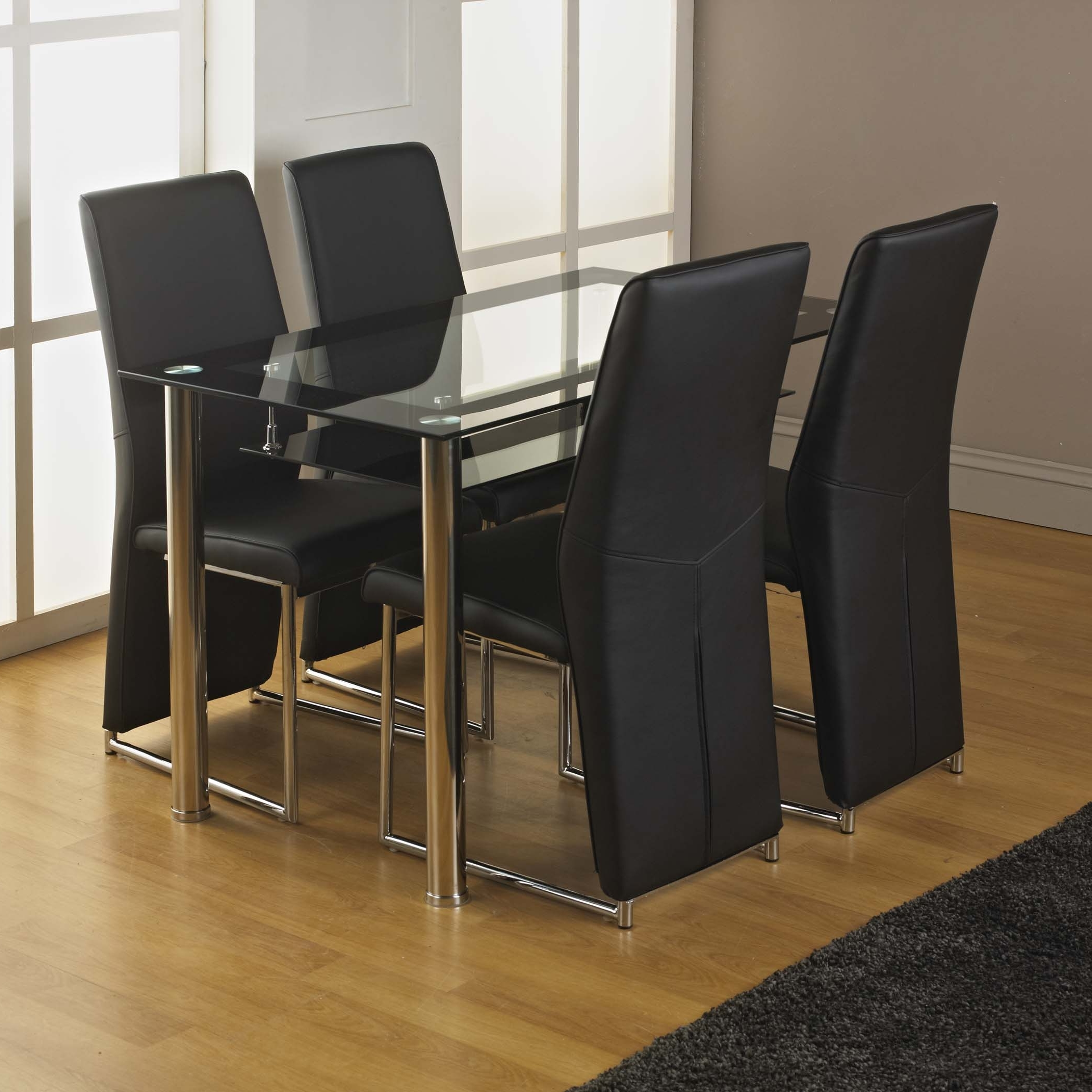 Best And Newest Kingston Dining Tables And Chairs Regarding Kingston Tempered Glass Dining Table And Four Chairs – Choice Of (View 3 of 25)