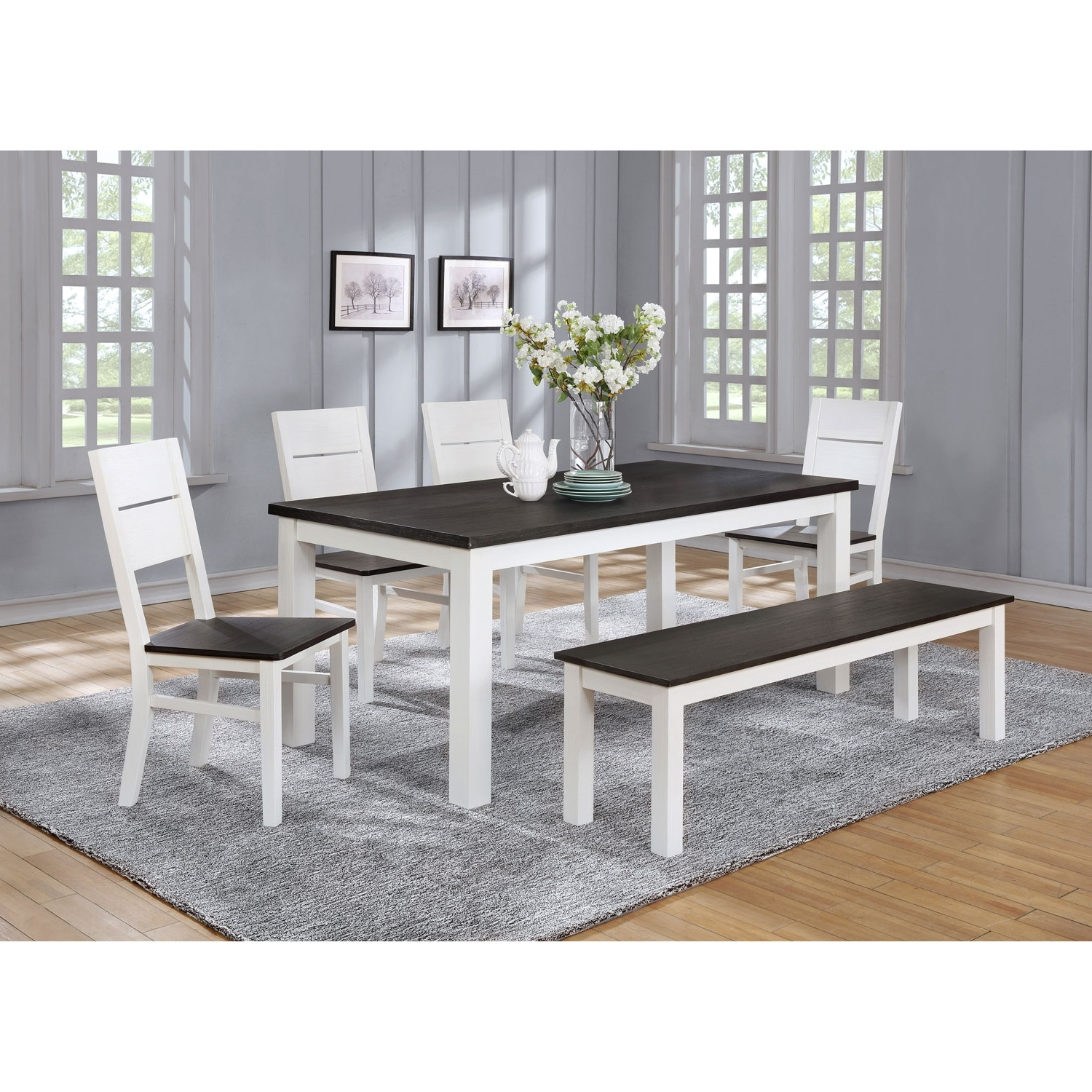 Best And Newest Laurent 7 Piece Rectangle Dining Sets With Wood And Host Chairs With Lauren Traditional 6 Seating Rectangular Casual Dining Table – White (View 5 of 25)
