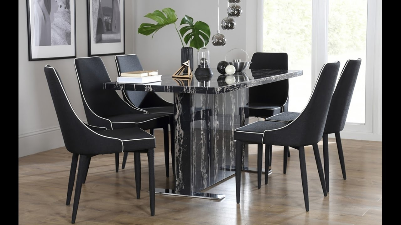 Best And Newest Marble Effect Dining Tables And Chairs With Magnus Black Marble Dining Tablefurniture Choice – Youtube (View 2 of 25)