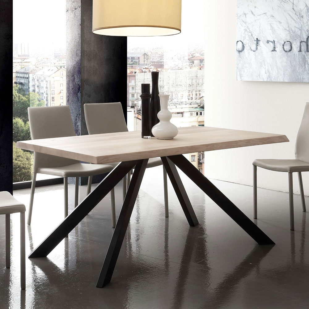 Best And Newest Modern Dining Table Houston, With Wooden Top And Metal Legs Throughout Dining Tables With Metal Legs Wood Top (Gallery 14 of 25)