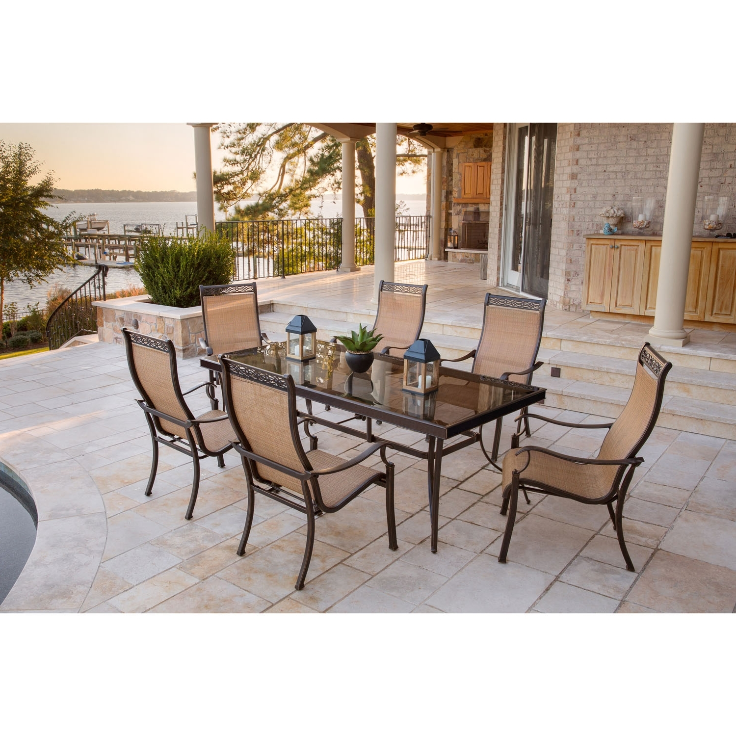 Best And Newest Monaco Dining Sets With Monaco 7 Piece Dining Set With Six Sling Back Dining Chairs And One (Gallery 2 of 25)