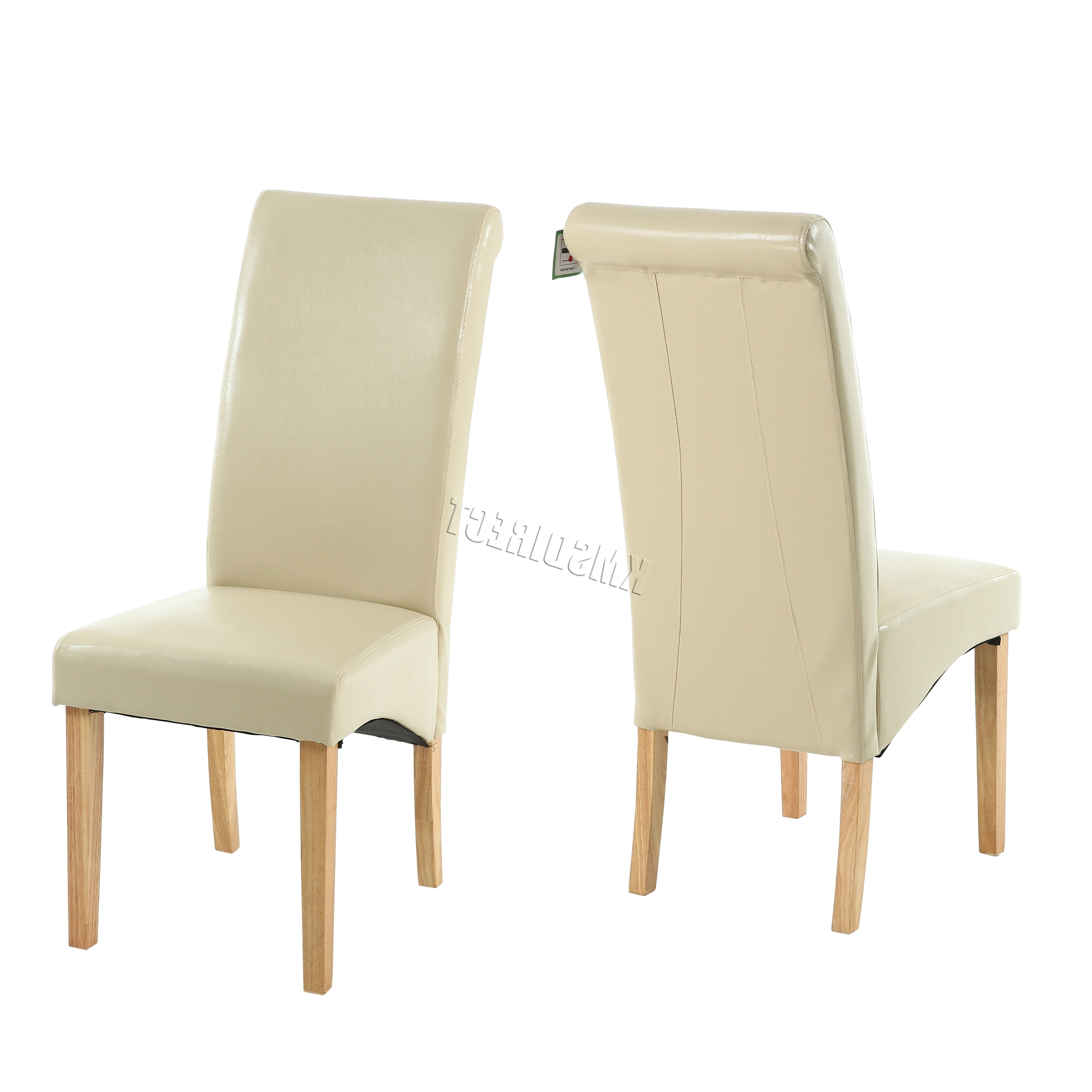 Best And Newest New Cream Faux Leather Dining Chairs Roll Top Scroll High Four Chair With Cream Faux Leather Dining Chairs (View 11 of 25)