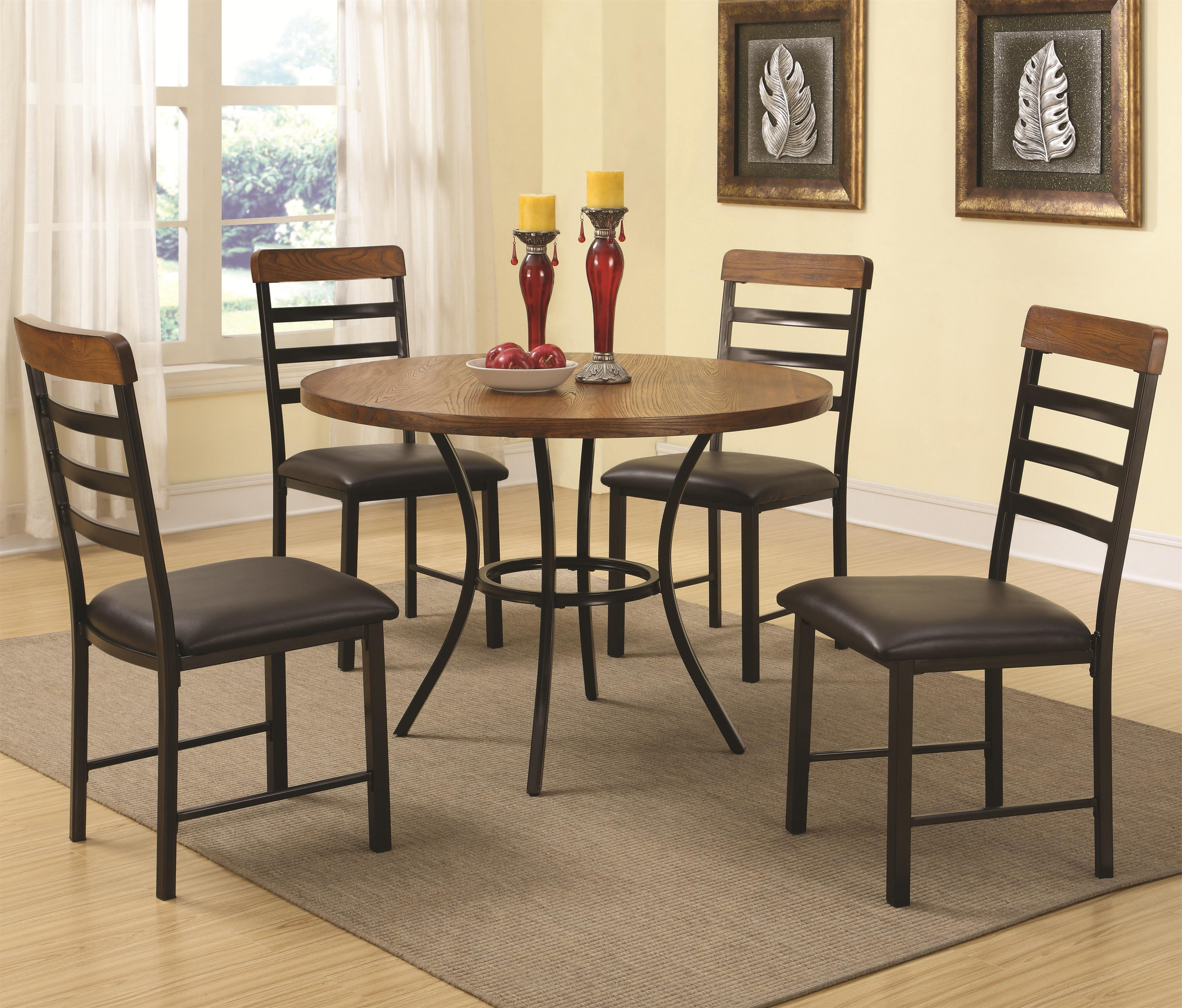 Best And Newest Noah Dining Tables Within Noah 5 Piece Dining Set With Round Pedestal Table And Ladderback (View 4 of 25)