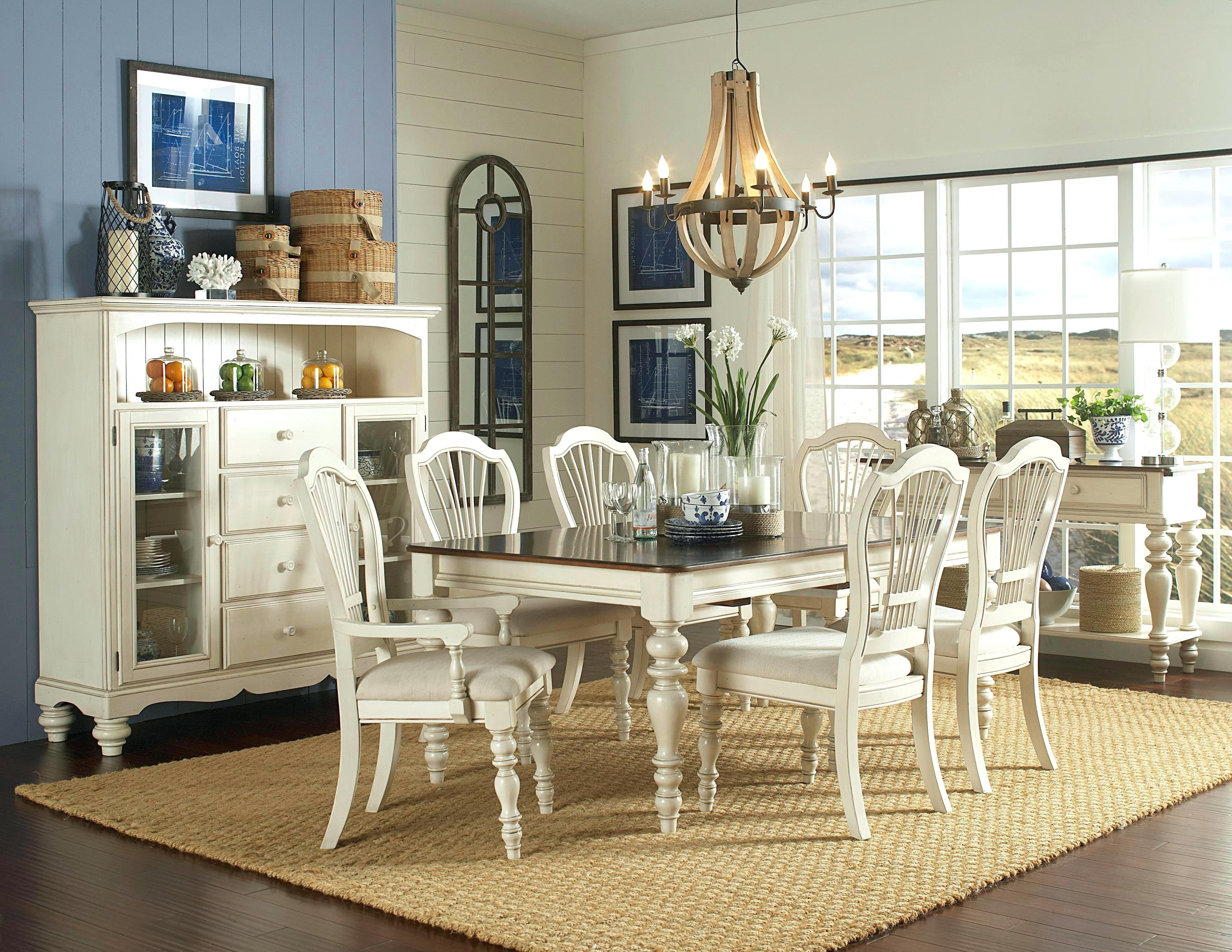 Best And Newest Partridge 7 Piece Dining Sets Inside 7 Piece Dining Set With Leaf Pine Island Wheat Back Arm And Side (View 22 of 25)