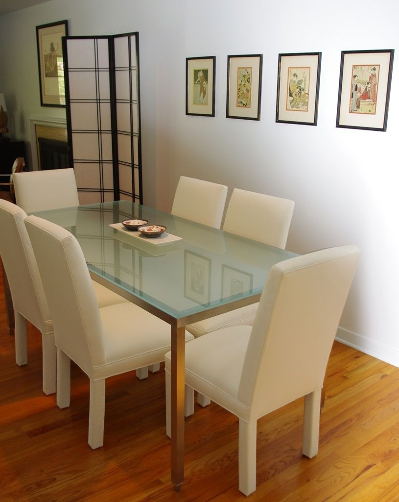 Best And Newest Pk Steel – Stainless Dining Table With Frosted Glass (View 2 of 25)