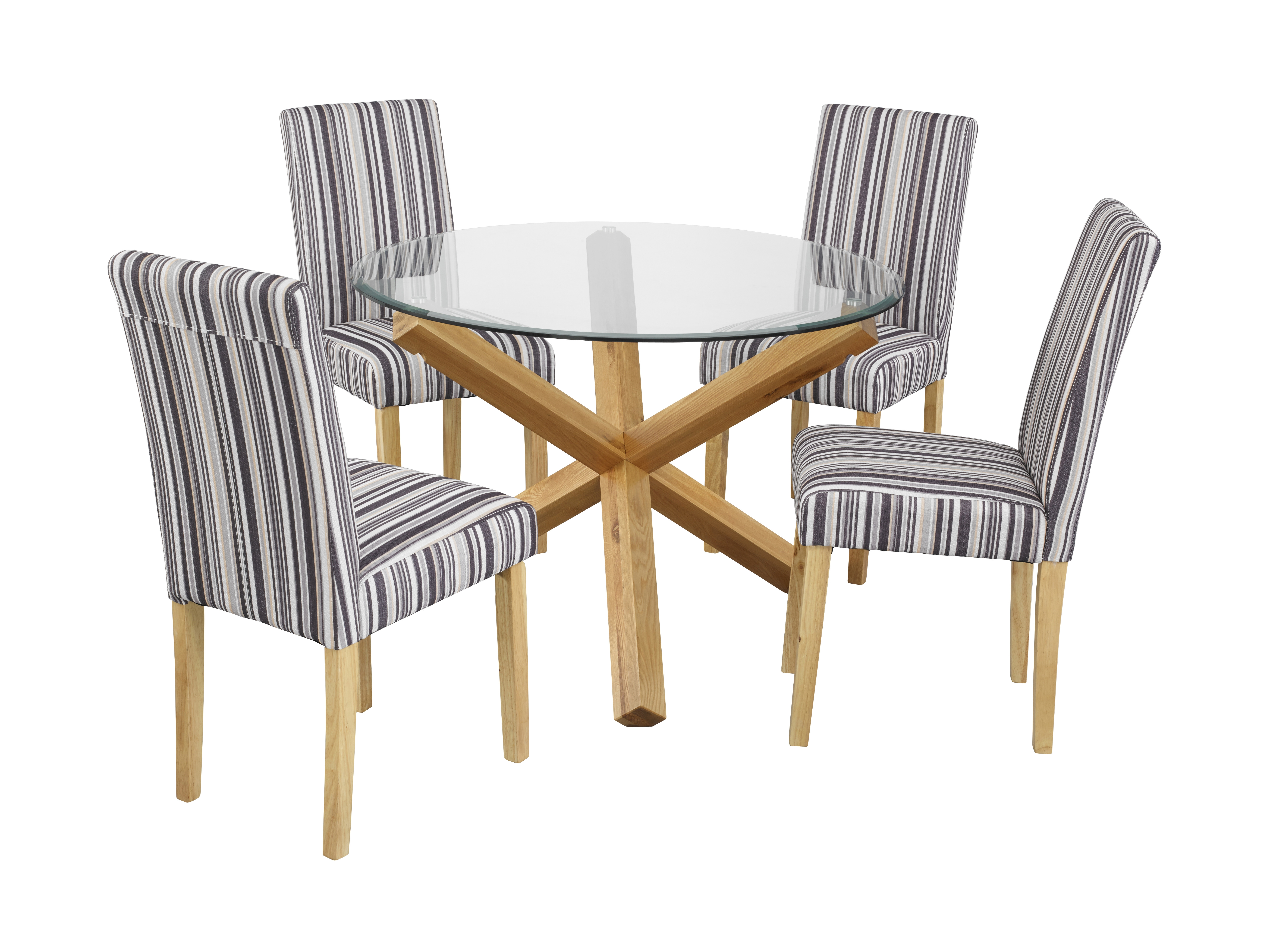 Best And Newest Round Glass Dining Tables With Oak Legs With Oporto Table & Lorenzo Chairs – Lpd Furniture (View 3 of 25)