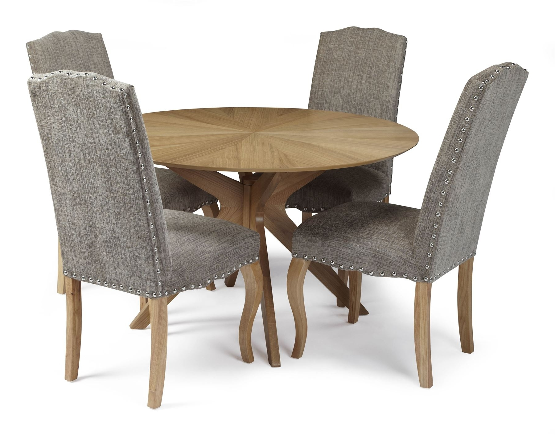 Best And Newest Round Oak Dining Tables And Chairs Pertaining To Bexley Round Oak Dining Table And 4X Kensington Bark Fabric Dining (View 3 of 25)