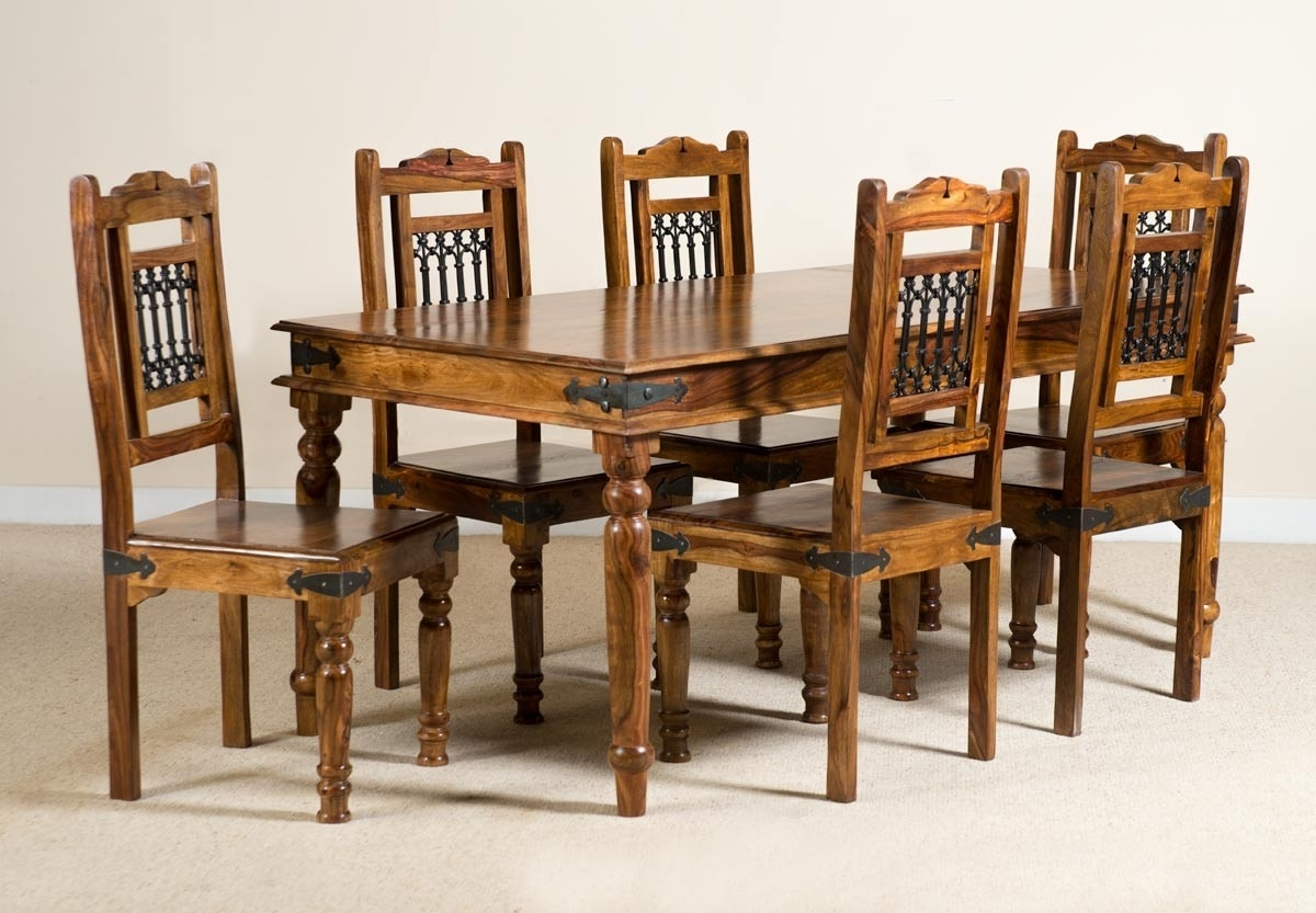 Best And Newest Sheesham Dining Tables 8 Chairs Regarding Jali Sheesham 180Cm Table & 6 Chairs (View 3 of 25)