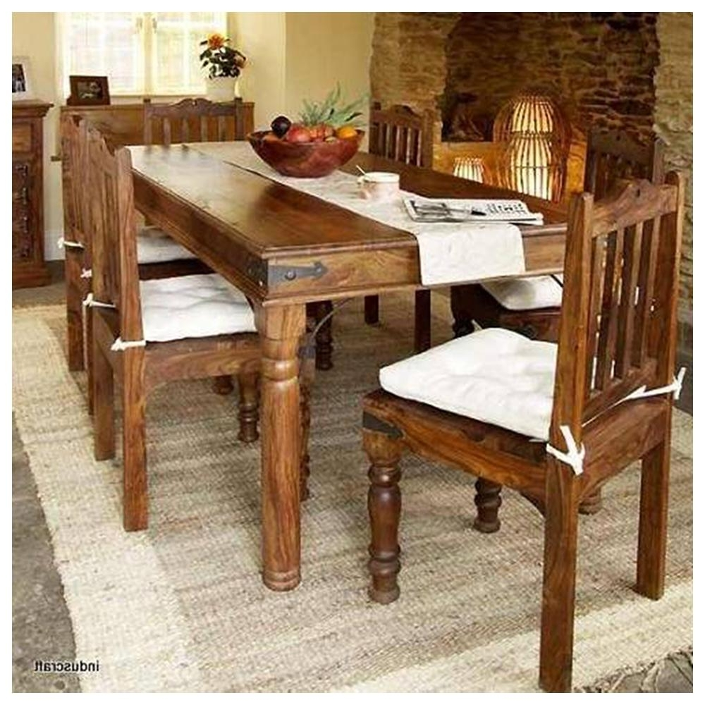 Best And Newest Sheesham Dining Tables And 4 Chairs Intended For Induscraft 7 Pc Modern Sheesham Wood Dining Table Set (View 2 of 25)