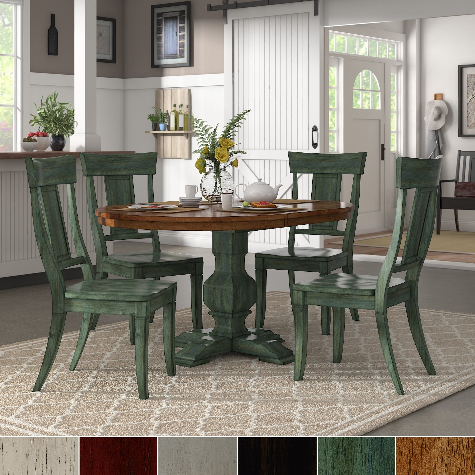 Best And Newest Shop Eleanor Sage Green Extending Oval Wood Table Panel Back 5 Piece Pertaining To Craftsman 7 Piece Rectangle Extension Dining Sets With Uph Side Chairs (View 15 of 25)