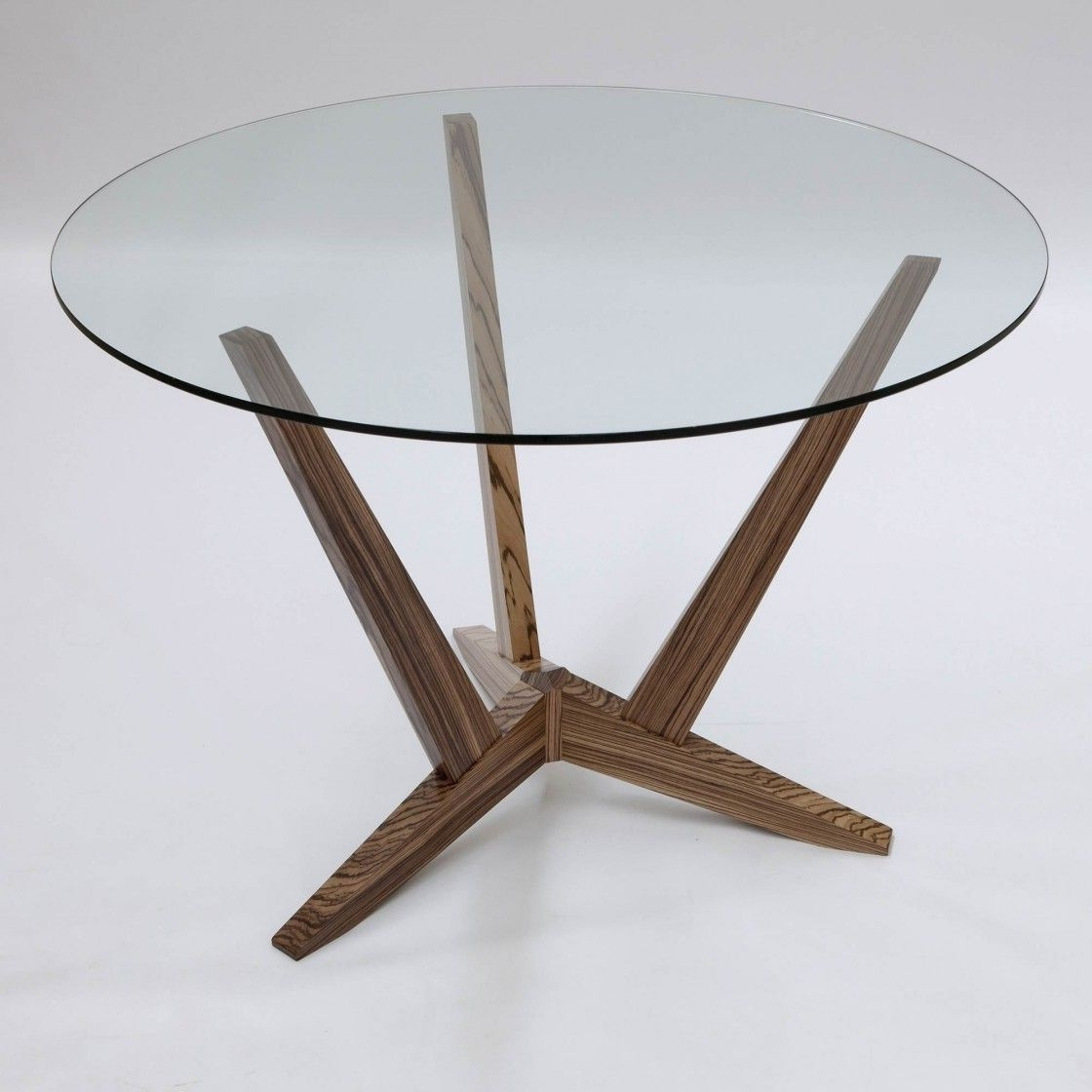 Best And Newest Simple Round Glass Dining Table With Walnut Wood Legs, Inexpensive Regarding Glass Dining Tables With Wooden Legs (View 24 of 25)